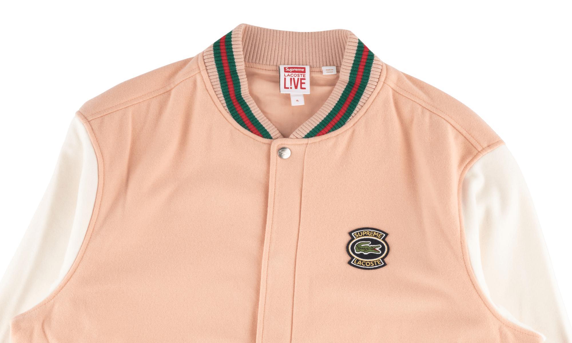 Supreme Lacoste Wool Varsity Jacket Peach For Men Lyst