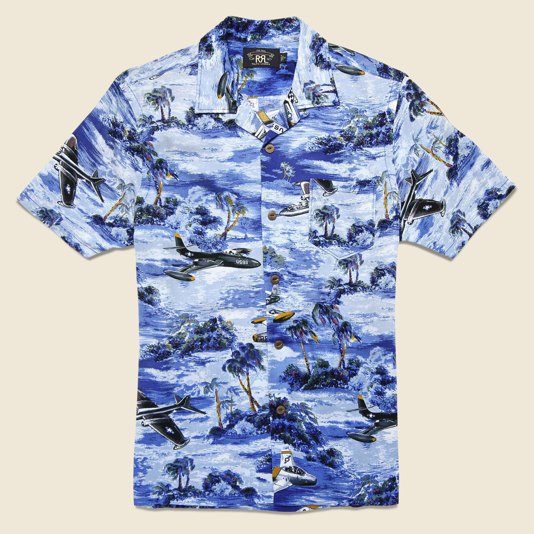 14880411 RRL Military Print Aloha Camp Shirt - Blue Multi in Blue for Men - Lyst