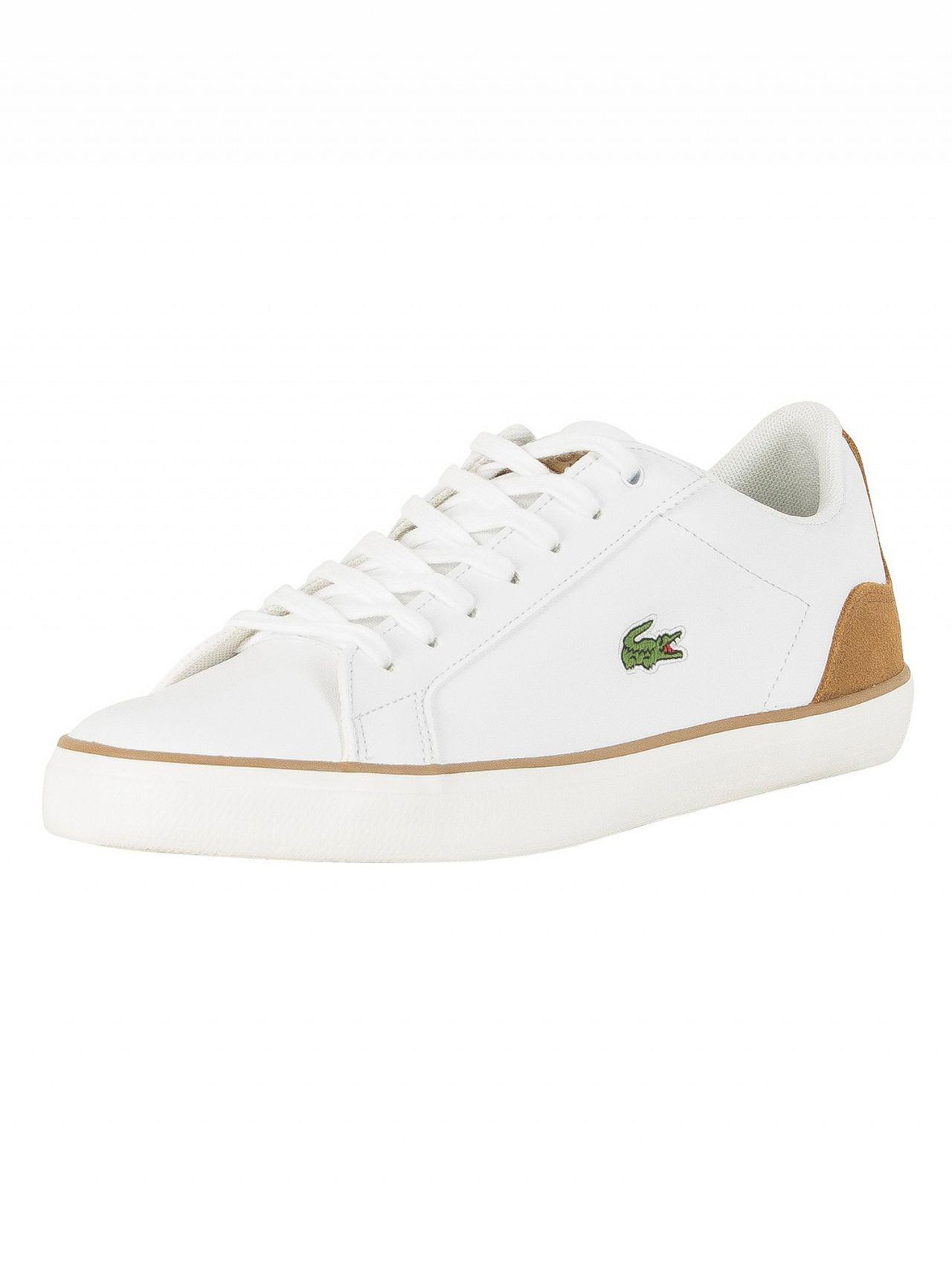 8801dbd82 Lacoste White light Brown Lerond 118 1 Cam Leather Trainers in White ...