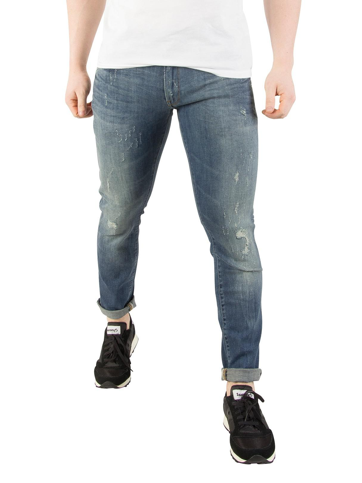 G-Star RAW. Men s Blue Vintage Medium Aged 3301 Deconstructed Super Slim  Jeans 632133272834