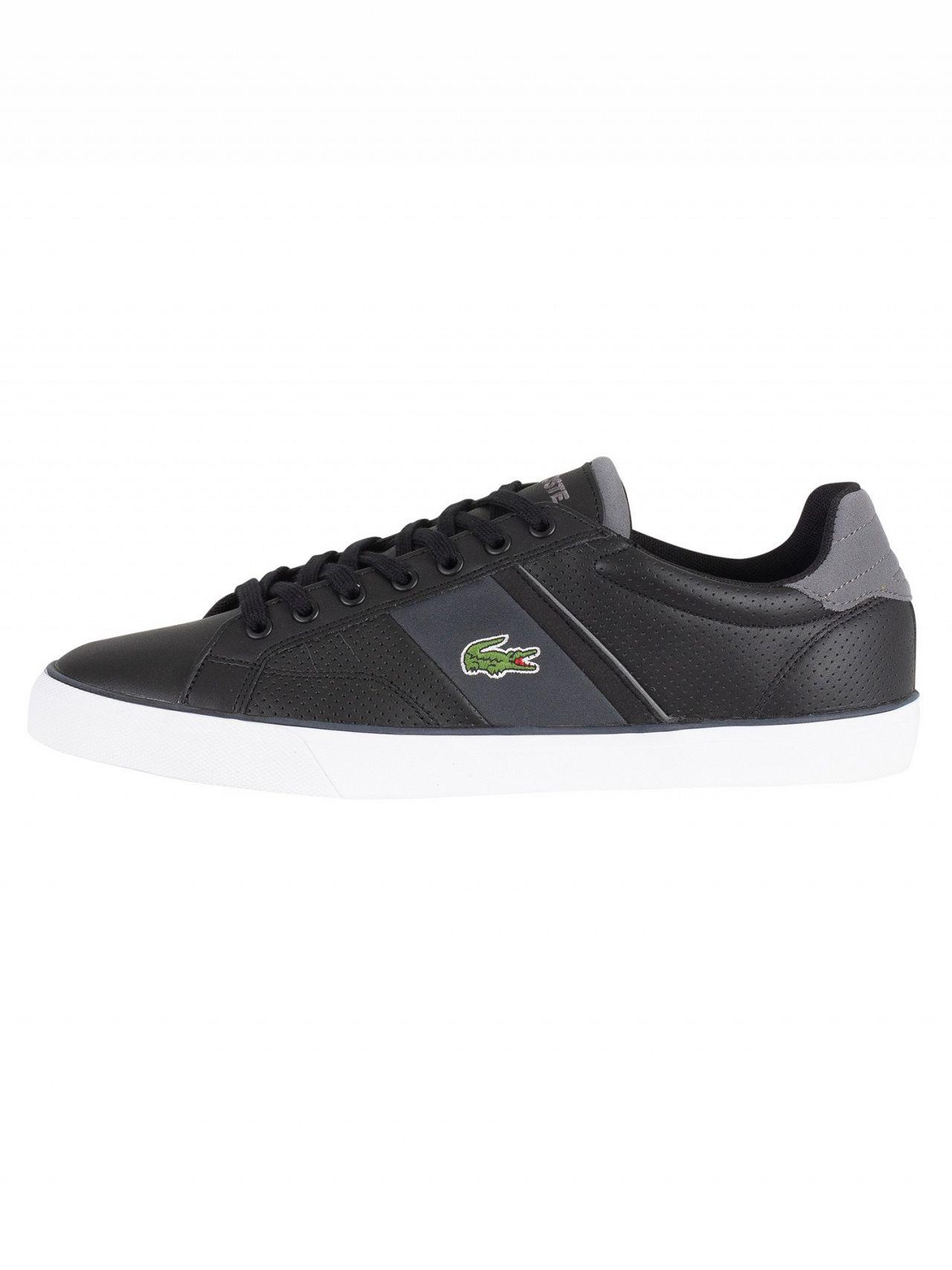 dbbe51645 Lacoste Black dark Grey Fairlead 118 1 Cam Leather Trainers in Black for Men  - Lyst