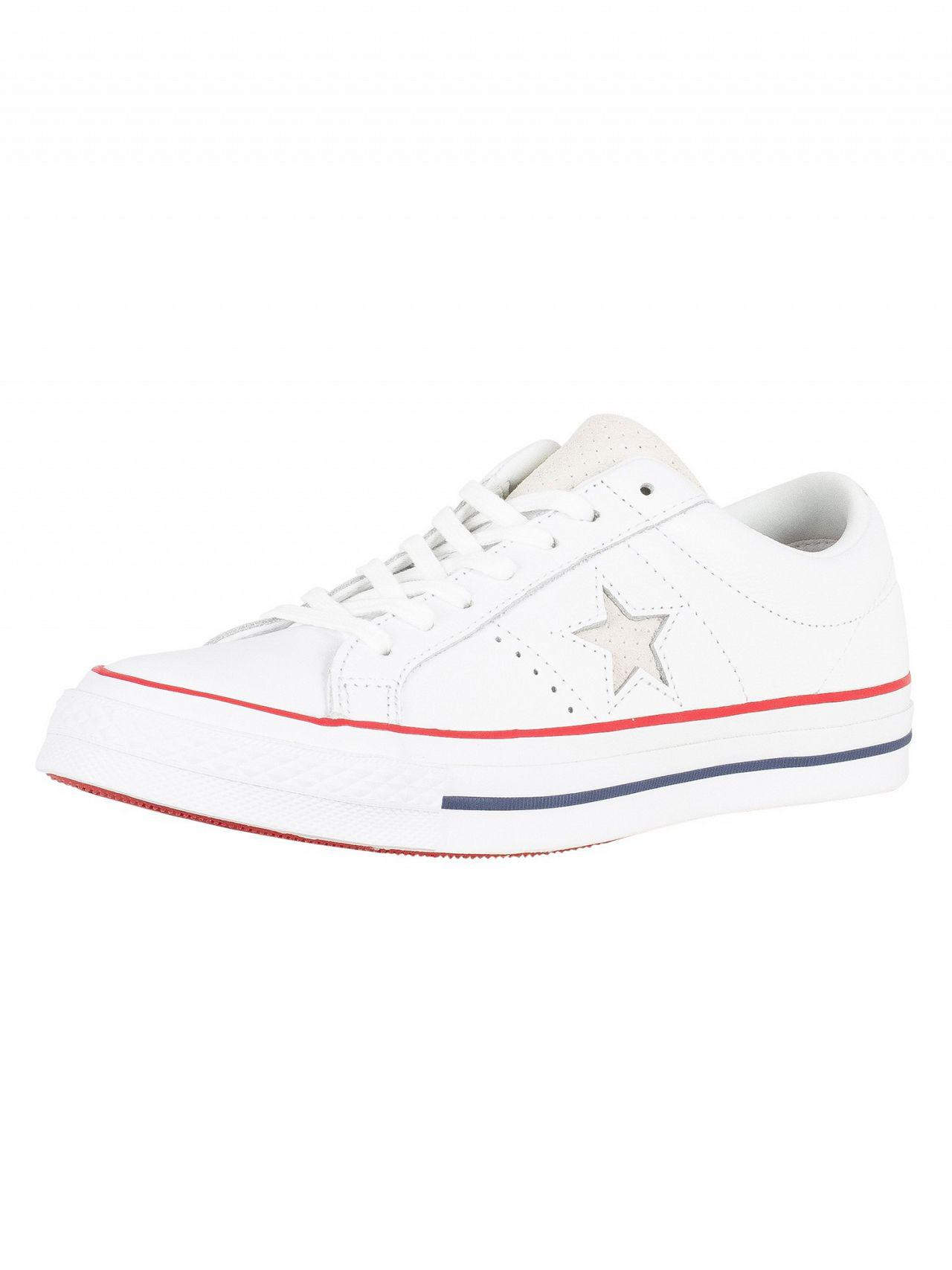 634e5ca9b1428d Converse White gym Red white One Star Ox Leather Trainers in White ...