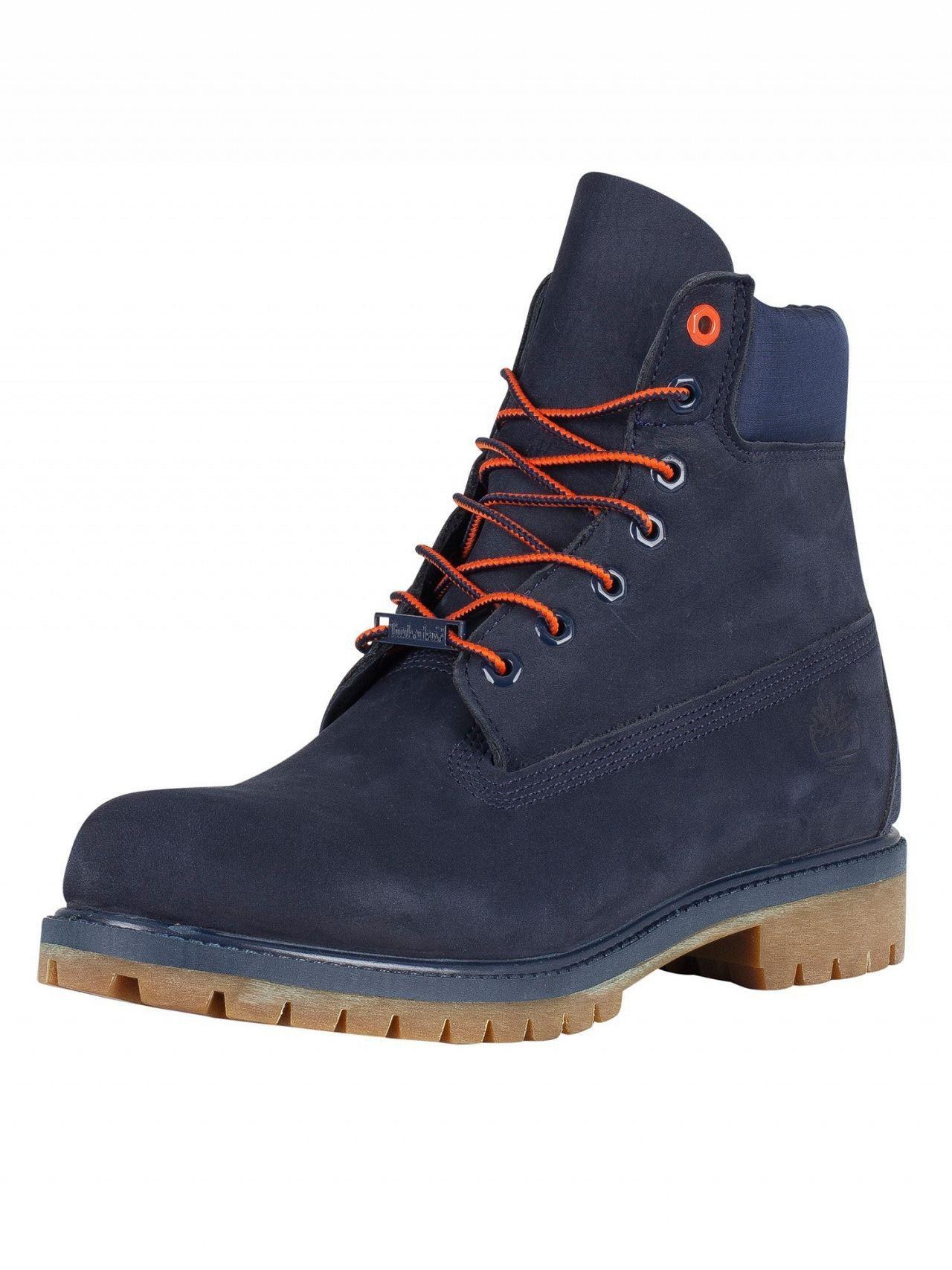 40d7d22f5a6a Lyst - Timberland Navy Nubuck Premium 6 Inch Waterproof Boots in ...