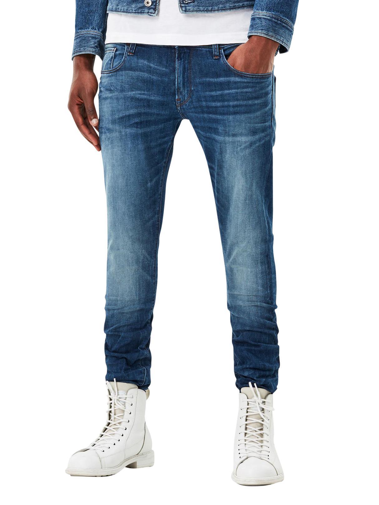 06491726343 G-Star RAW. Men's Blue Medium Indigo 3301 Deconstructed Super Slim Jeans