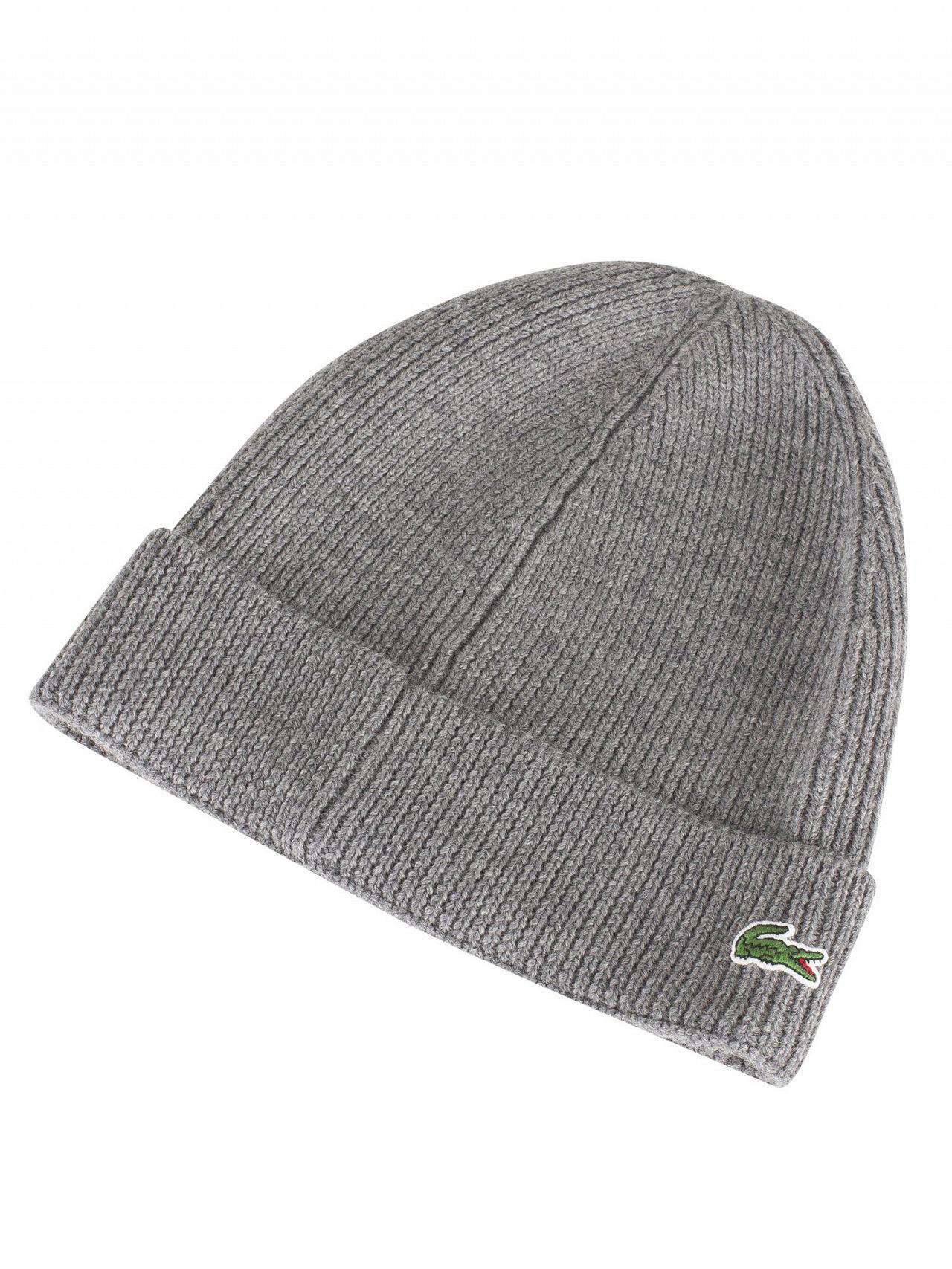 Lacoste Grey Logo Beanie in Gray for Men - Lyst b5ea9189daba