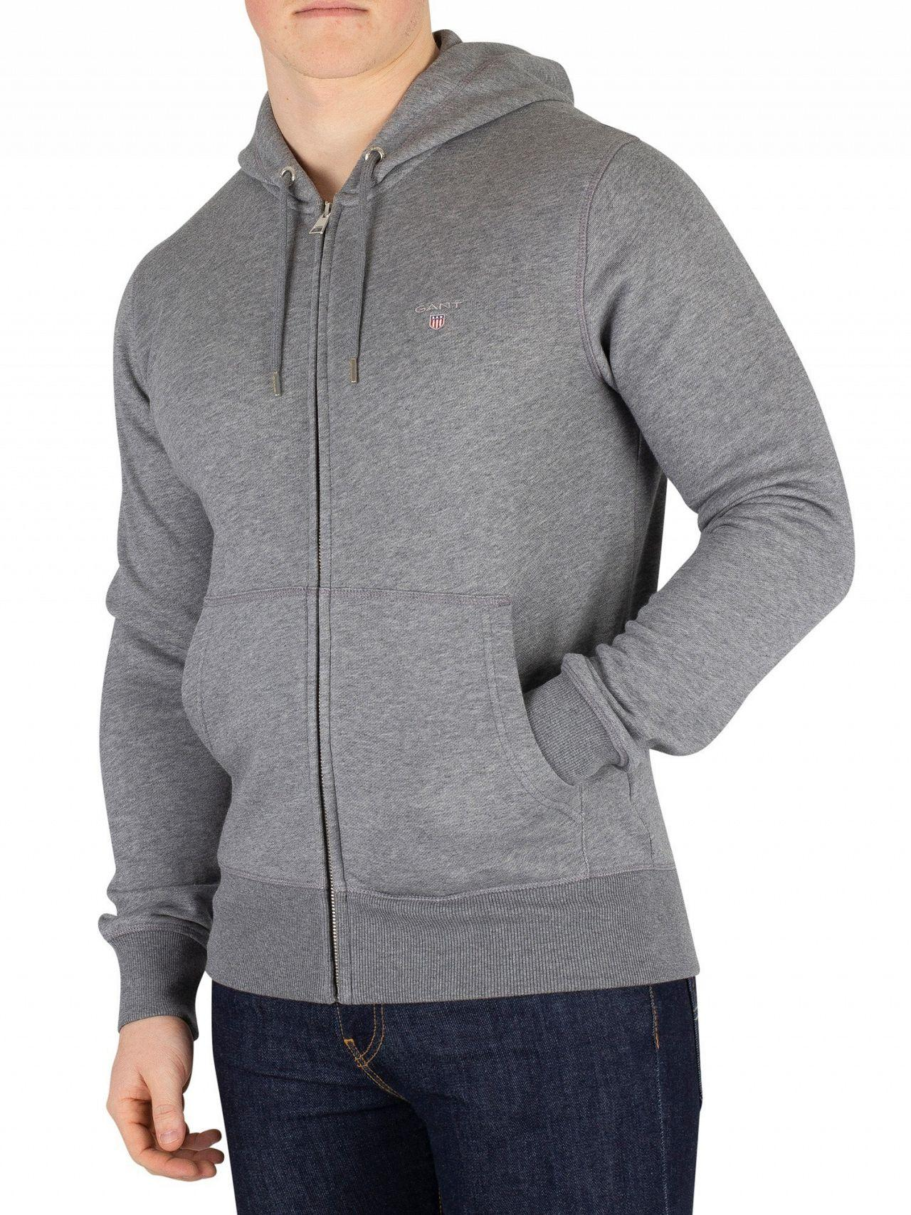 a937ba10 Lyst - GANT Dark Grey Melange Original Zip Hoodie in Gray for Men