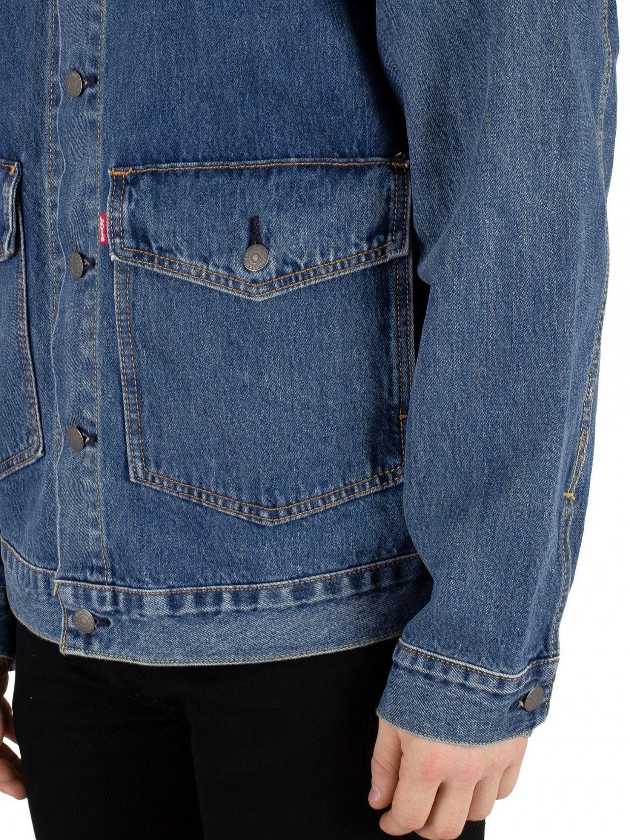 3f8d08a7 Levi's Gear Box Patch Pocket Trucker Jacket in Blue for Men - Lyst