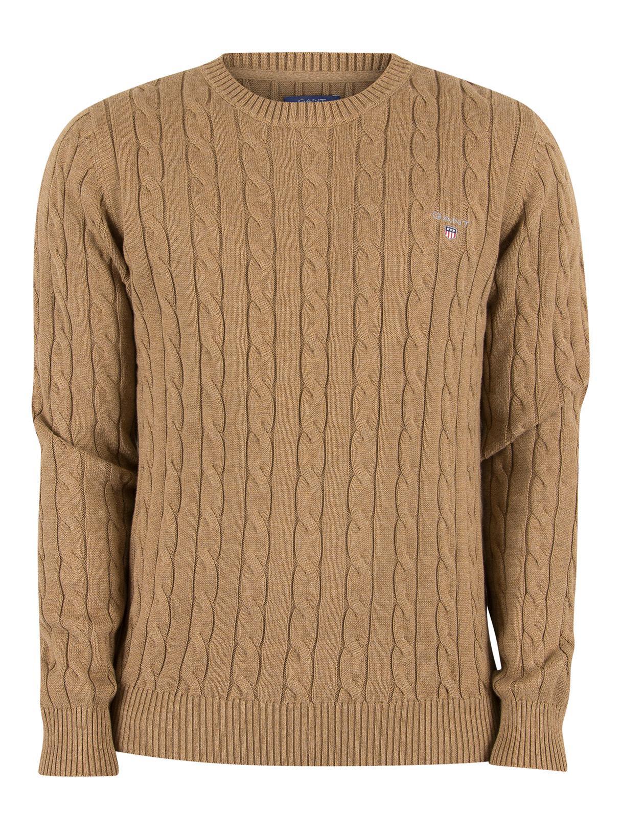 a5df1daf7d0b86 GANT Dark Sand Melange Logo Cable Knit in Natural for Men - Lyst