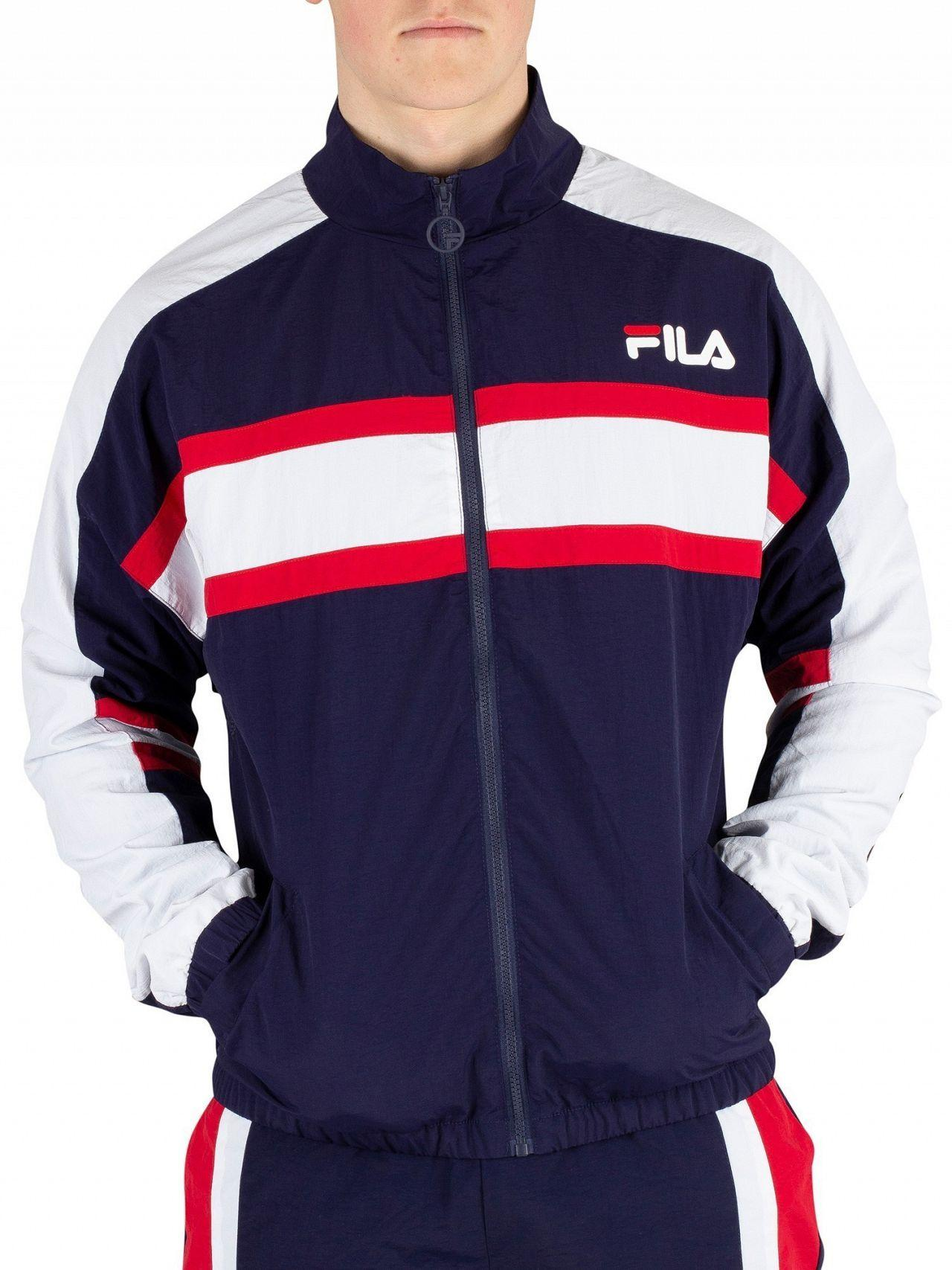a1536bd35ef4 Lyst - Fila Peacoat Carter Colour Block Track Jacket in Blue for Men
