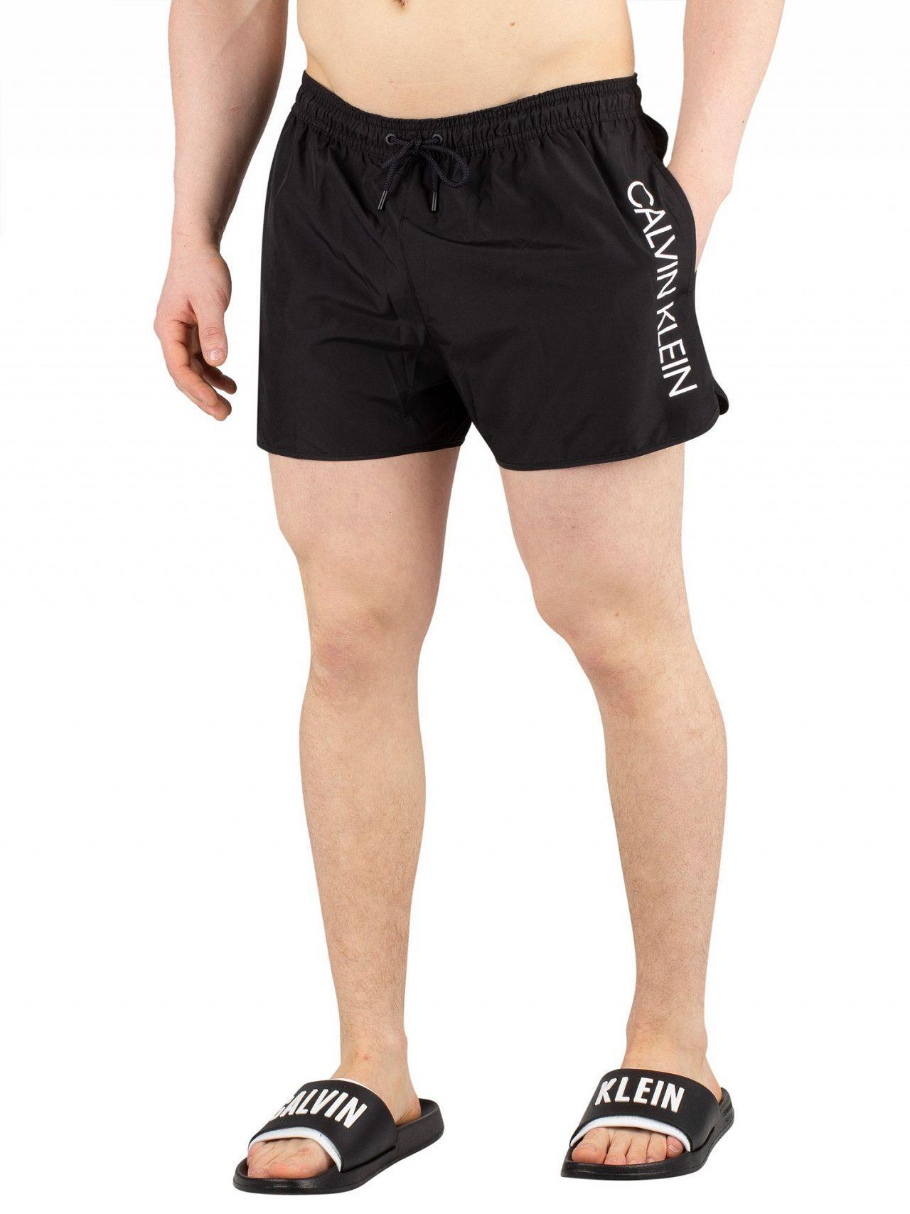 86708fcc902f9 Calvin Klein - Black Short Runner Swim Shorts for Men - Lyst. View  fullscreen
