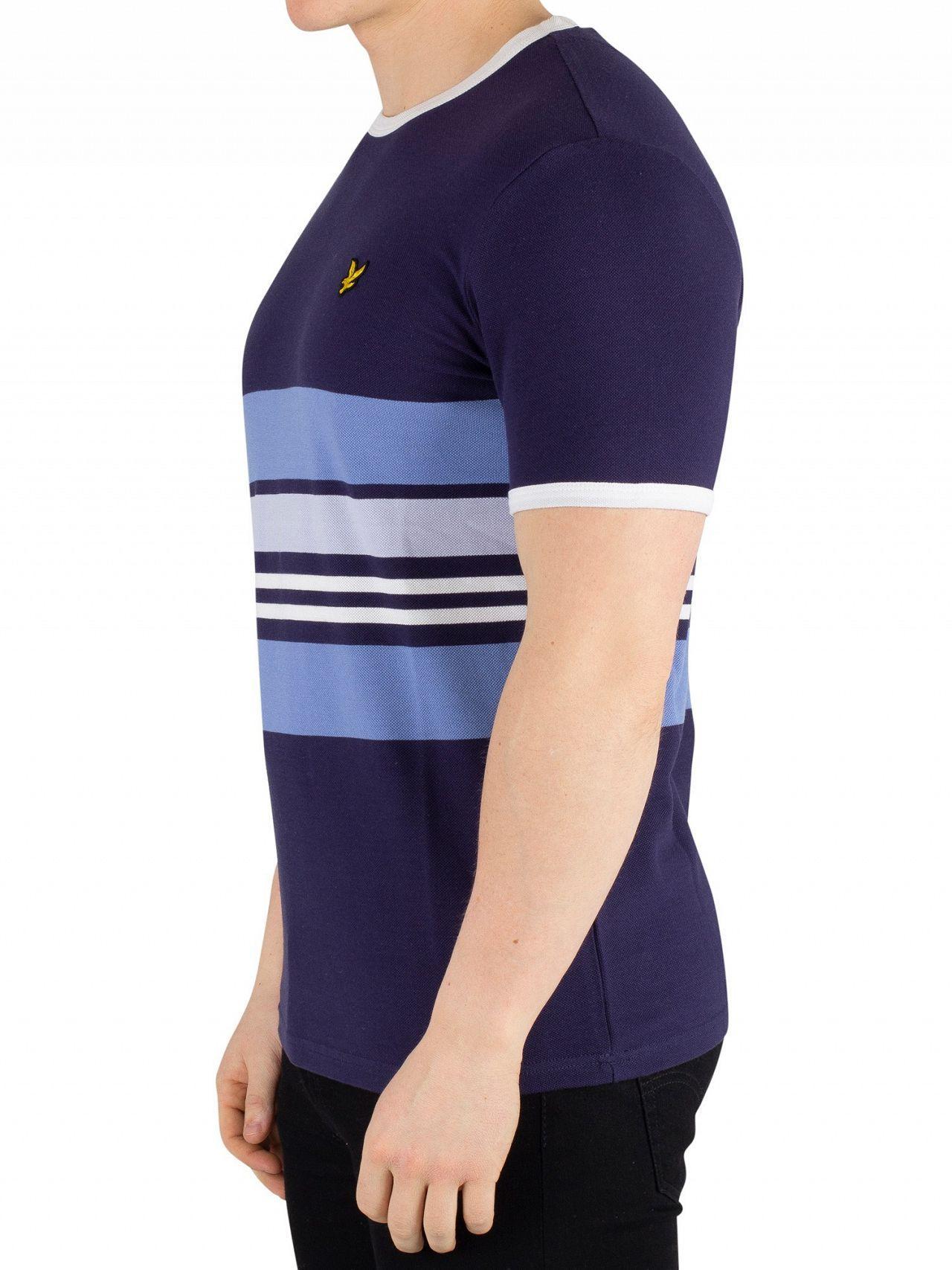 b90b3c499 Lyst - Lyle & Scott Navy Pique Stripe Ringer T-shirt in Blue for Men