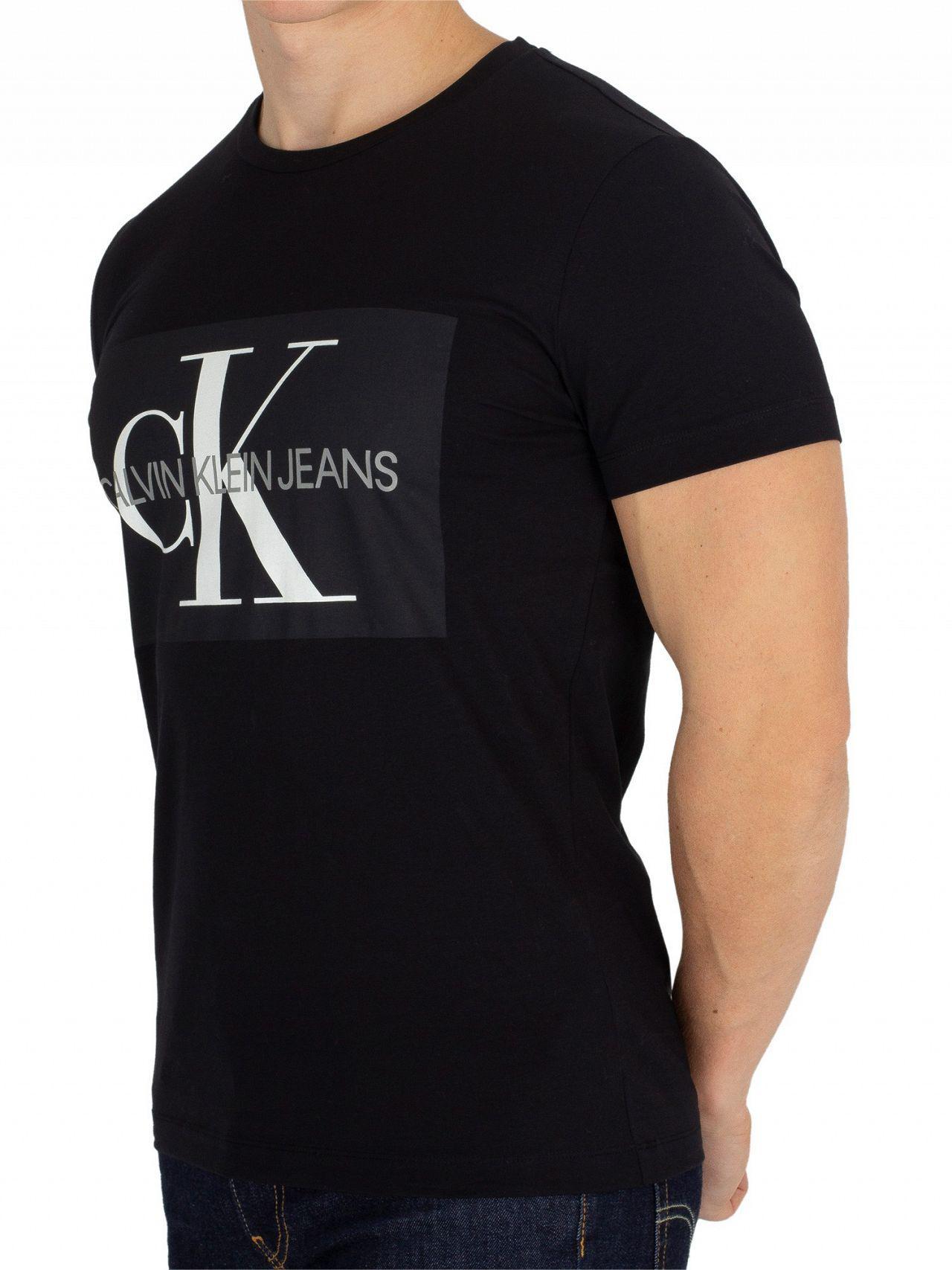 9be66a56fc1e Lyst - Calvin Klein Black Monogram Box T-shirt in Black for Men ...