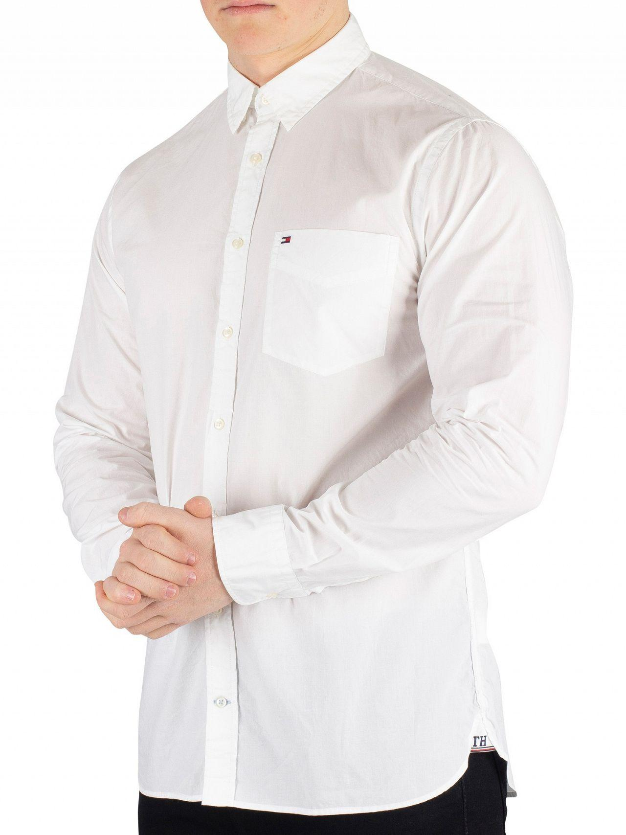 22bbcc56d173 Lyst - Tommy Hilfiger Bright White Essential Poplin Shirt in White ...