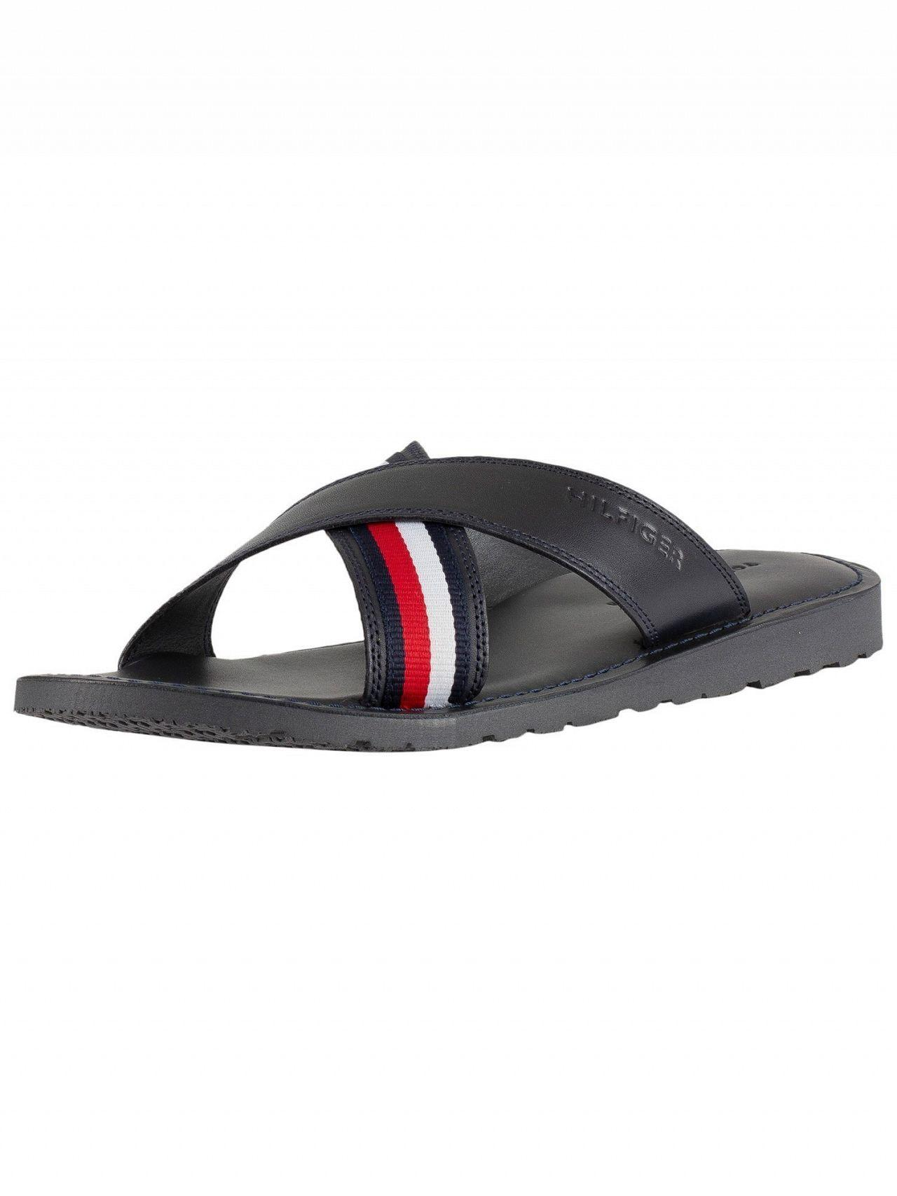 ef6c47409 Lyst - Tommy Hilfiger Midnight Criss Cross Leather Sandals in Blue ...