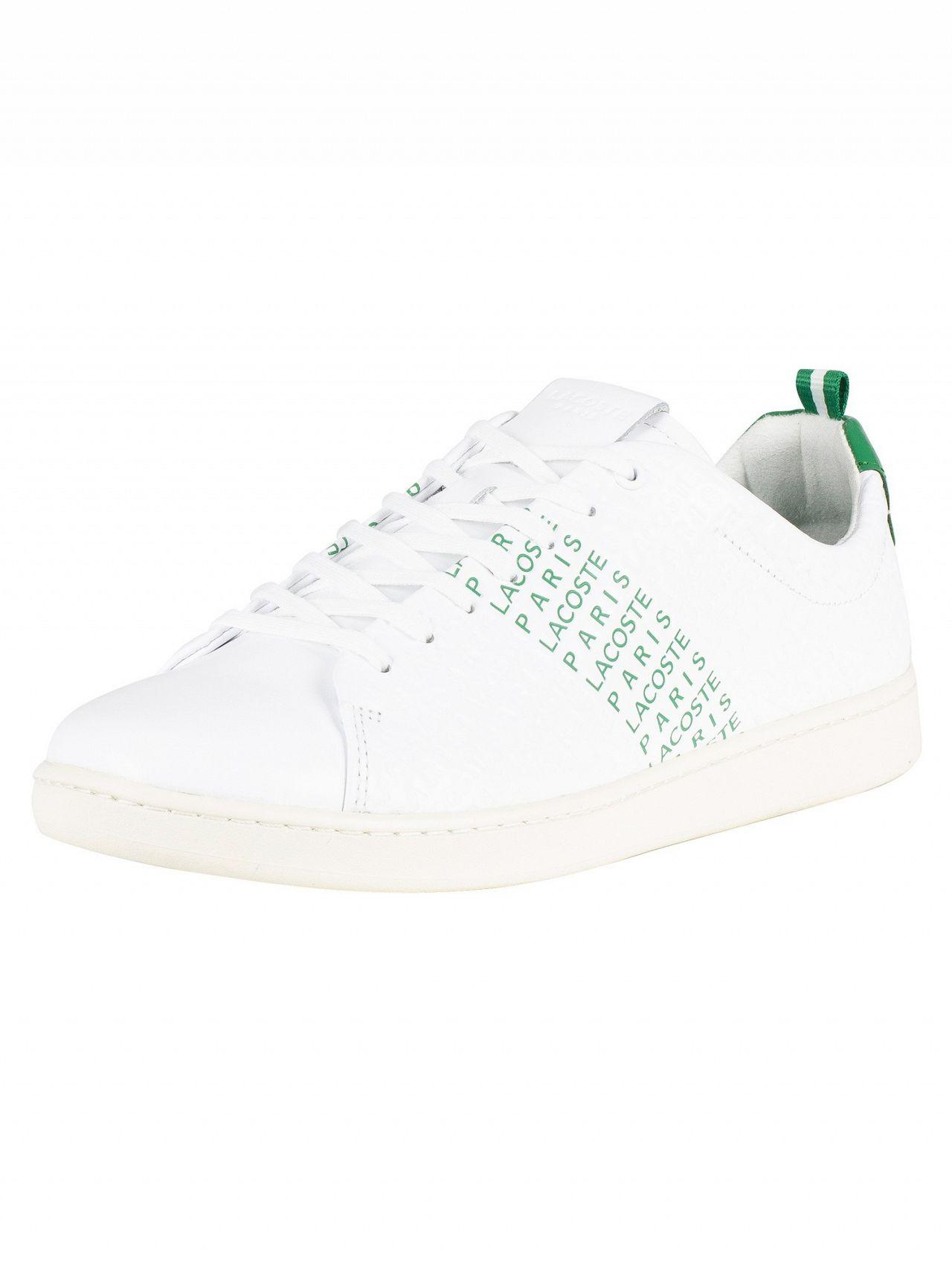 7b209e33a Lyst - Lacoste White green Carnaby Evo 119 9 Leather Trainers in ...