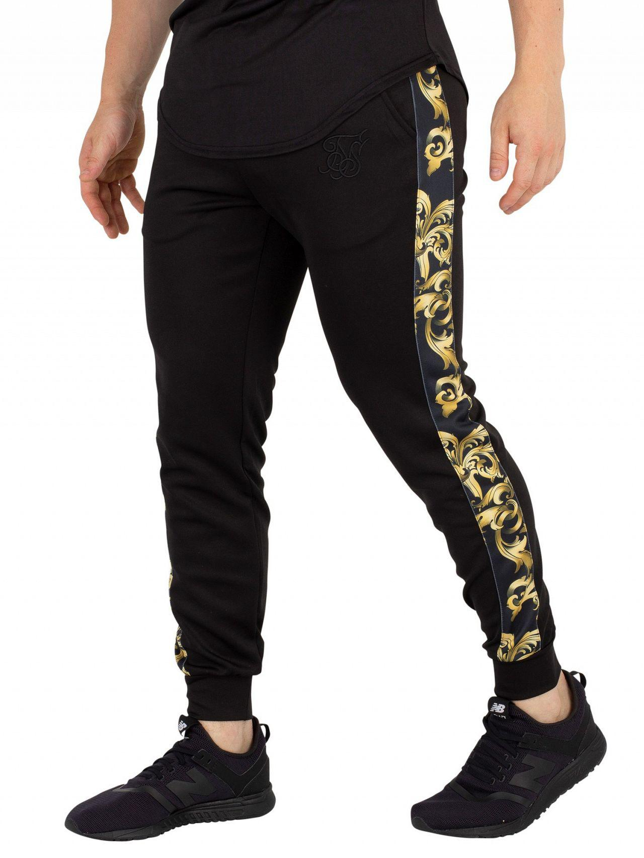 858e62c87b8b64 Sik Silk Black/gold Venetian Taped Cropped Joggers in Black for Men ...