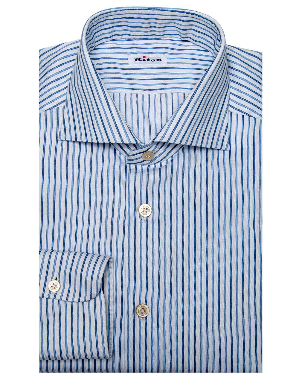 f5fa515f0d Lyst - Kiton Navy And Blue Rope Stripe Dress Shirt in Blue for Men ...