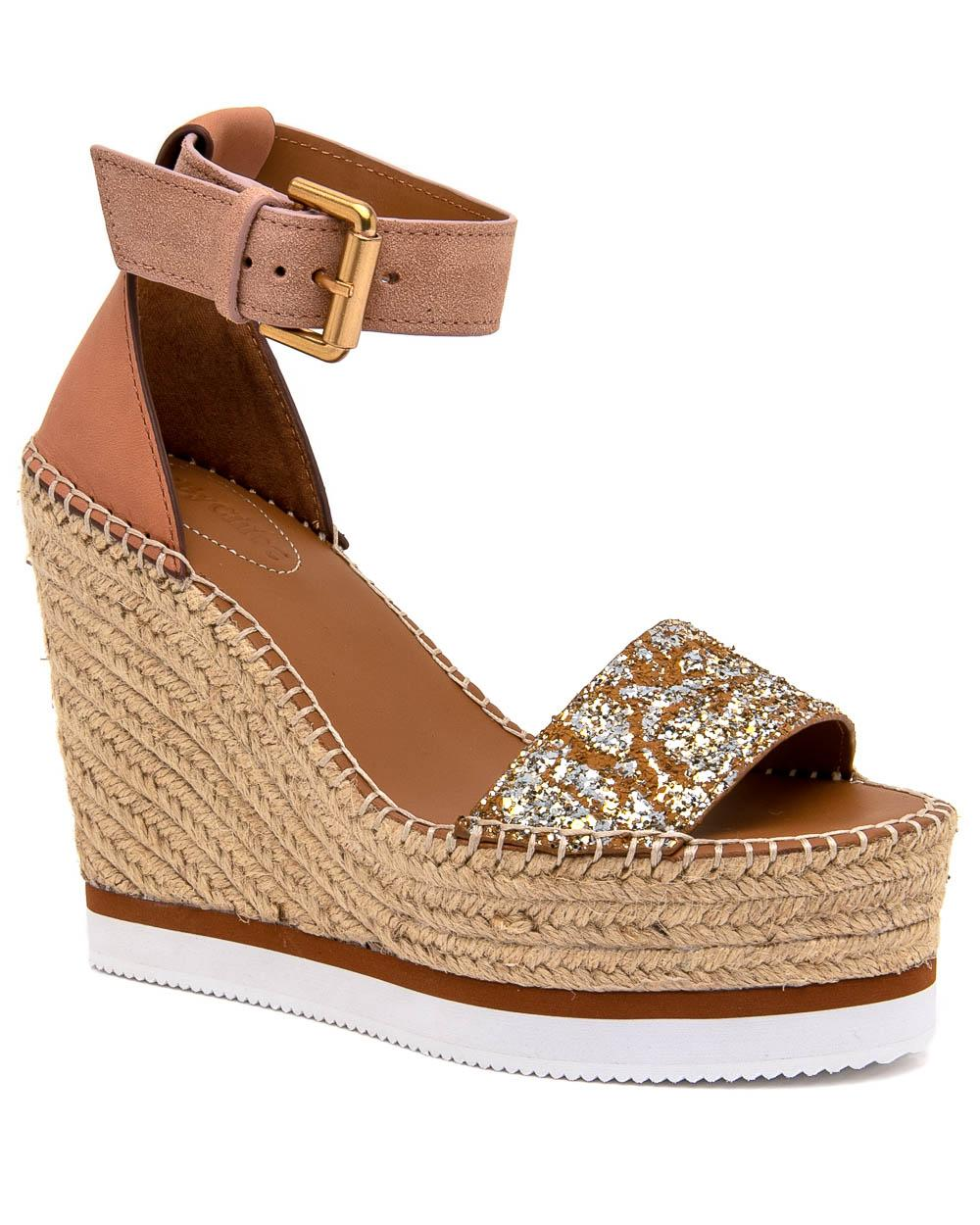 95fd2f6eb29e See By Chloé - Brown Glyn Espadrille Wedge Sandal In Glitter - Lyst. View  fullscreen