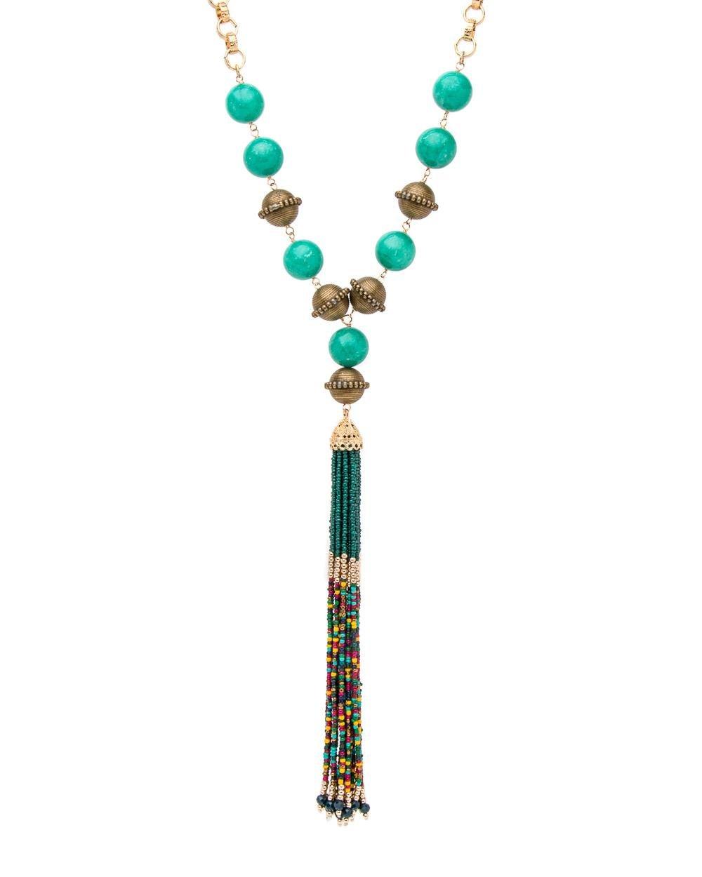 Devon Leigh Antiqued Statement Tassel Necklace 8VtjCHk54