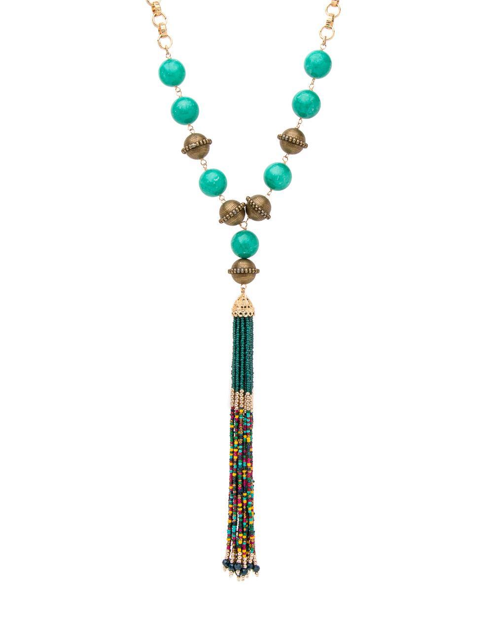 Devon Leigh Turquoise Beaded Tassel Necklace BoOkAR