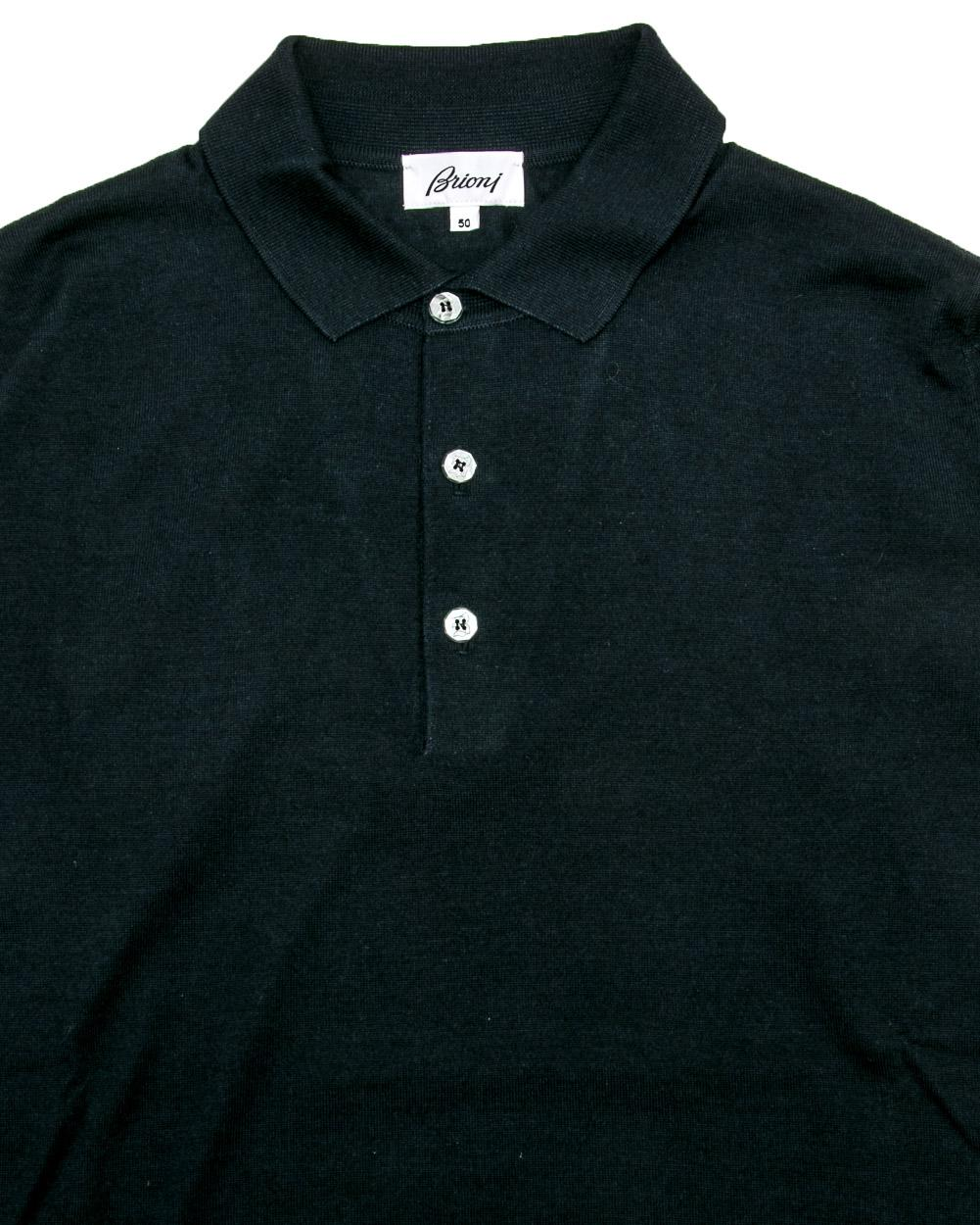 c09d3aa6a Lyst - Brioni Navy Long Sleeve Knit Polo in Blue for Men