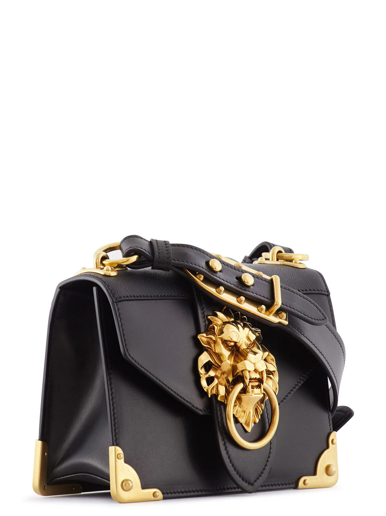 4ec0065cb969 ... norway lyst prada cahier lion head leather bag in black 2fce8 7a408