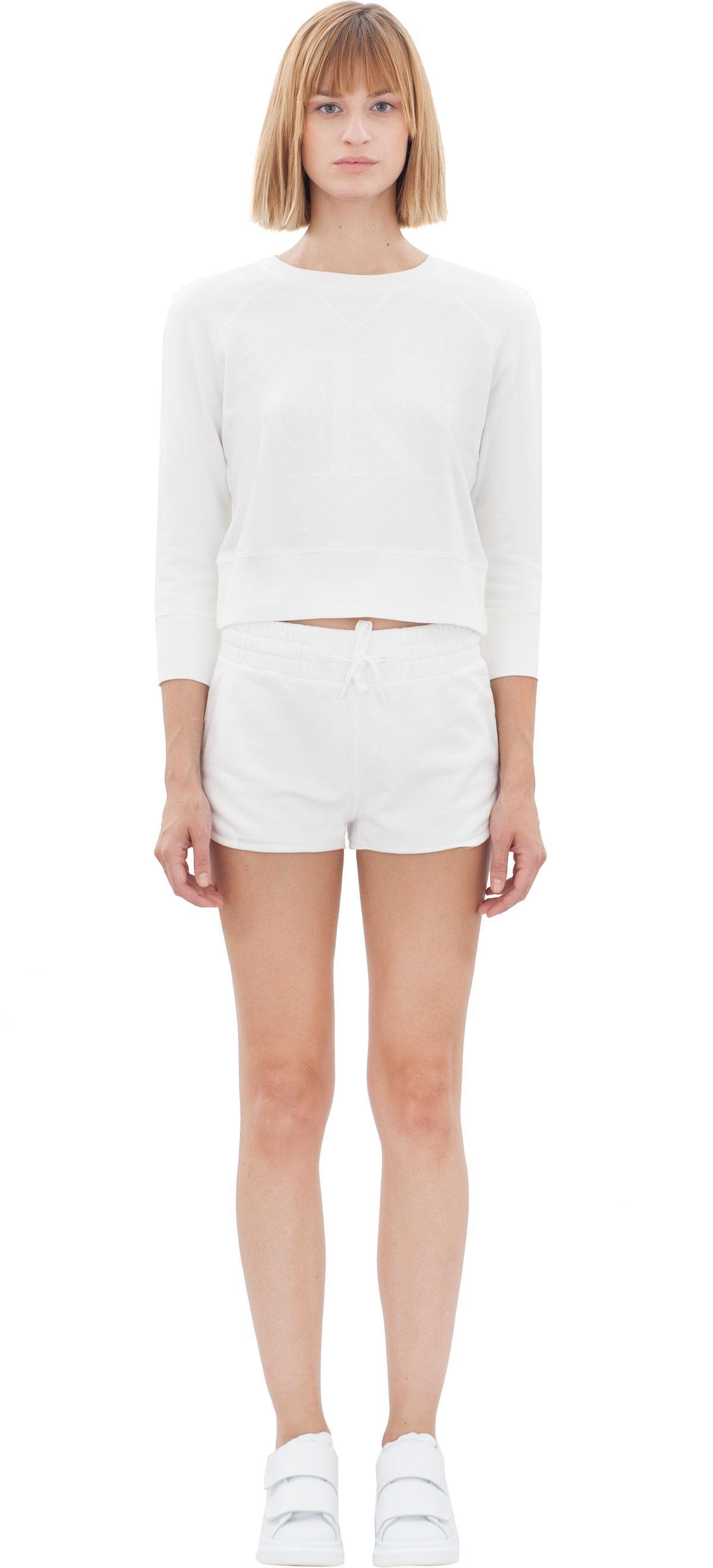 calvin klein jeans 3 4 sleeve sweatshirt in white lyst. Black Bedroom Furniture Sets. Home Design Ideas