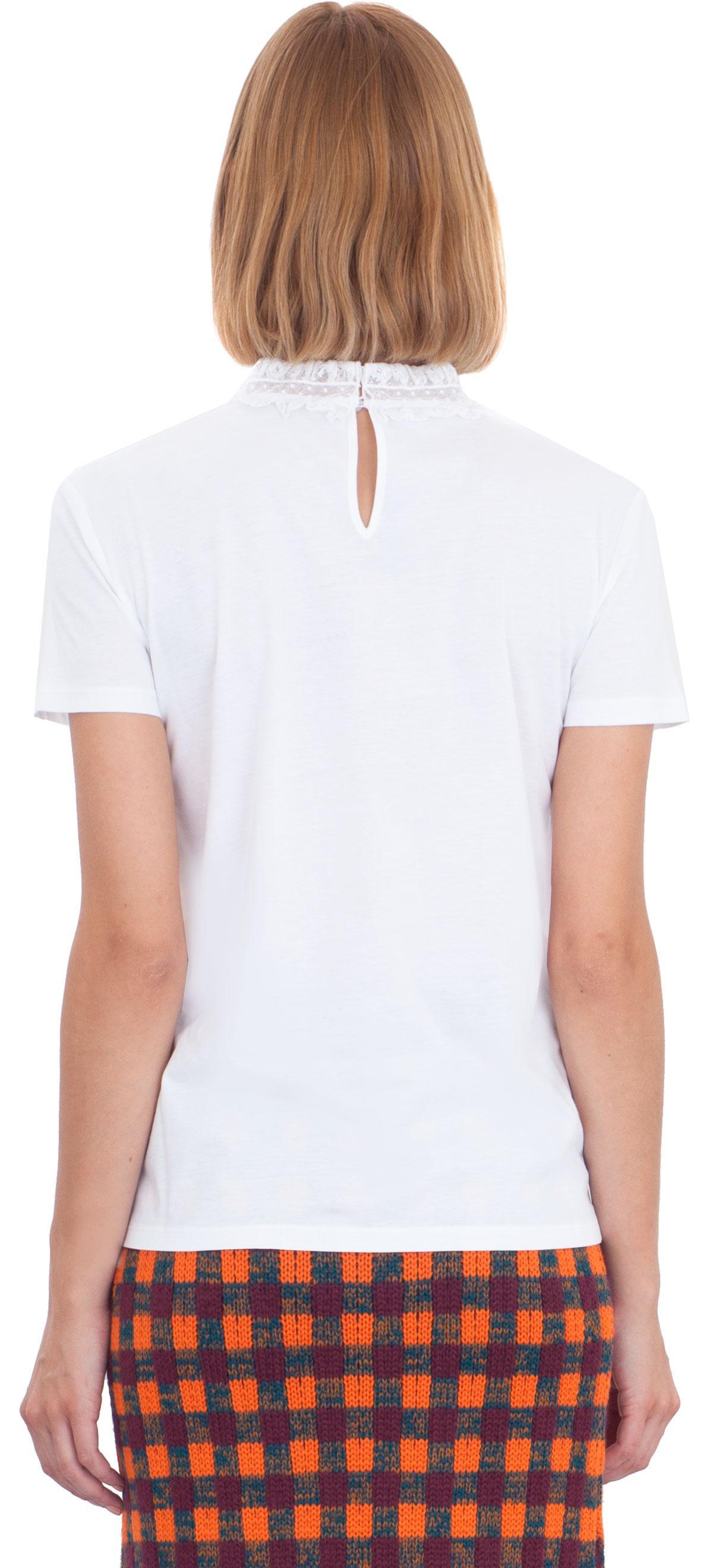 Lyst miu miu lace trimmed cotton t shirt in white for Miu miu t shirt
