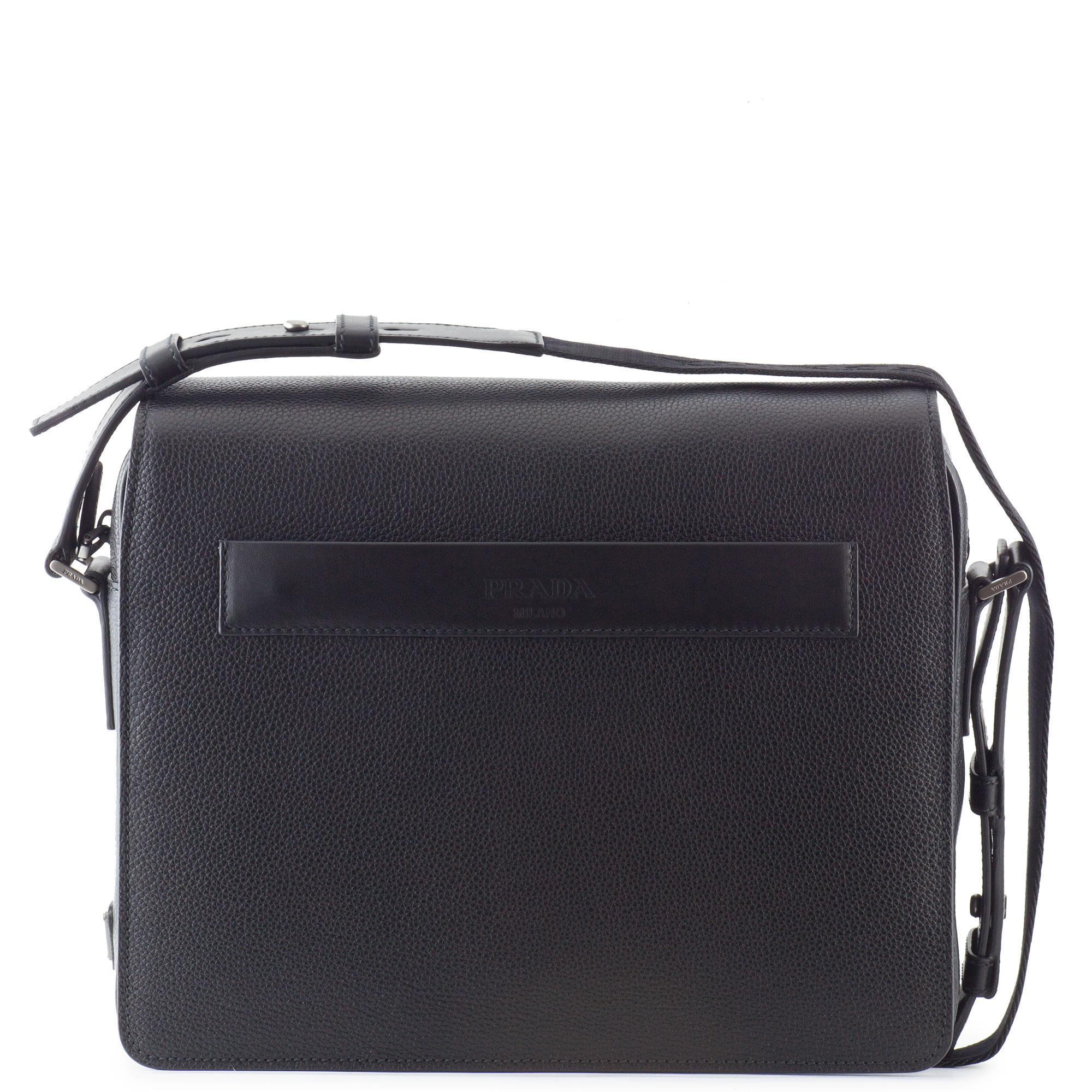 a2fa9a69b86765 Prada Men's Black Leather Shoulder Bag   Stanford Center for ...