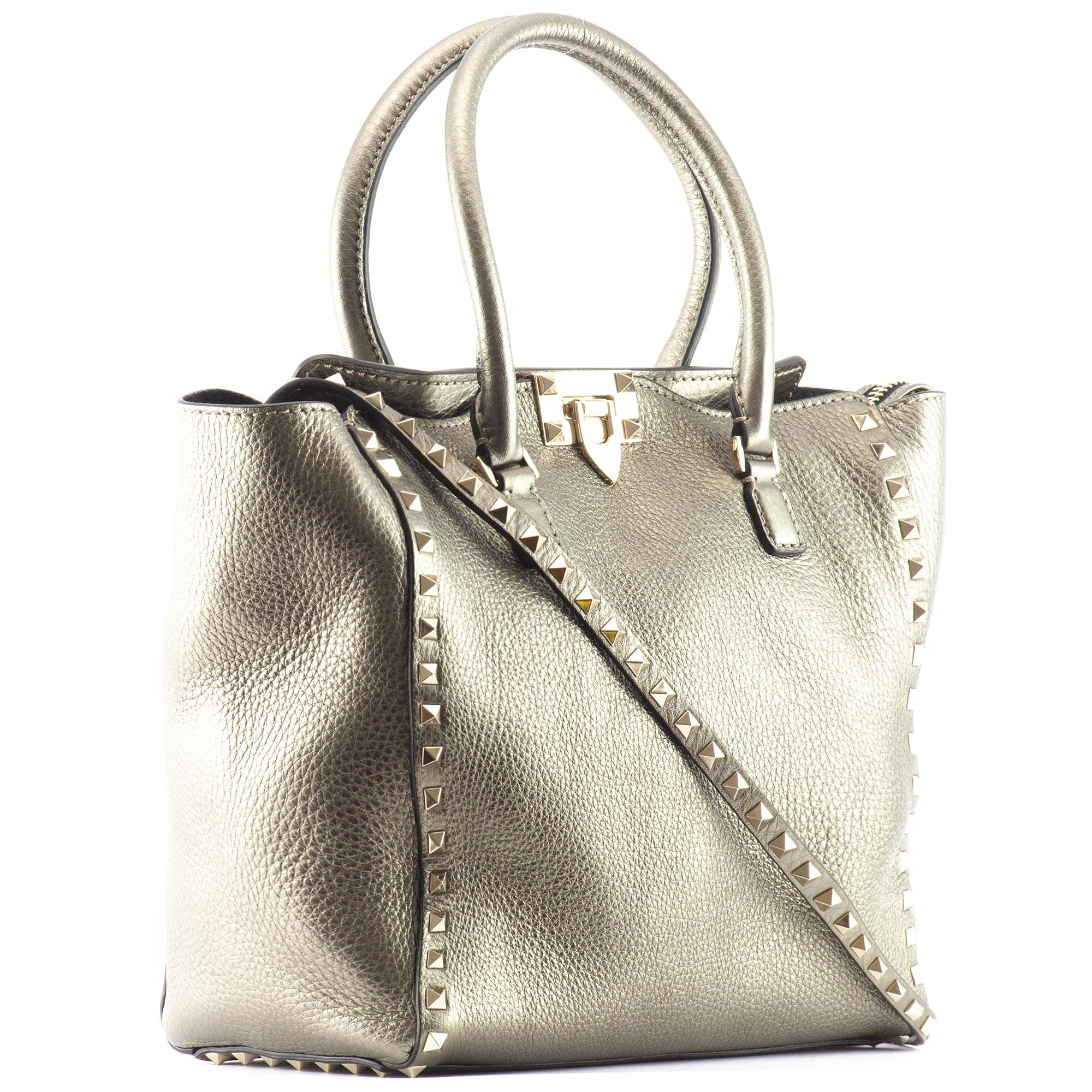Valentino Rockstud Medium Metallic Leather Shoulder Bag In