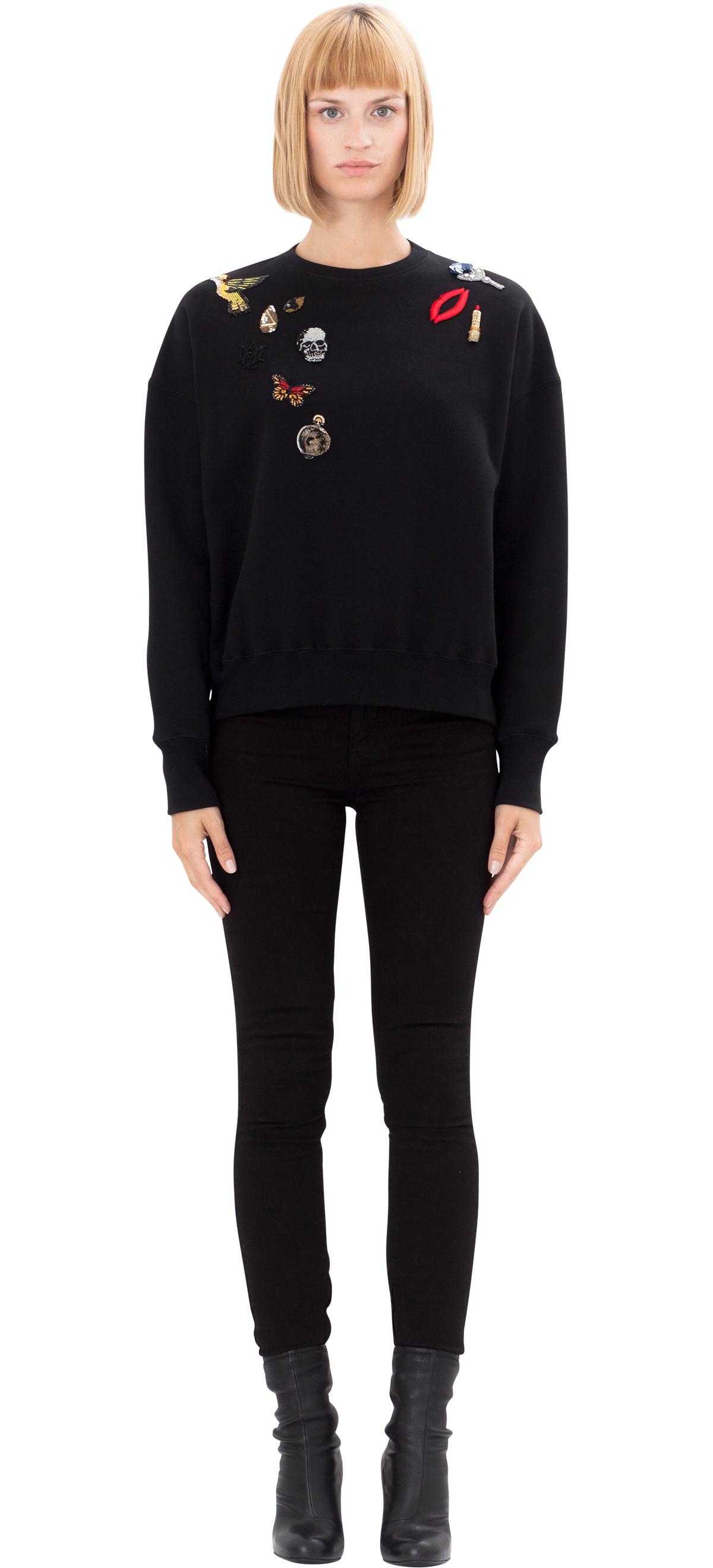 alexander mcqueen embroidered cotton sweatshirt in black lyst. Black Bedroom Furniture Sets. Home Design Ideas