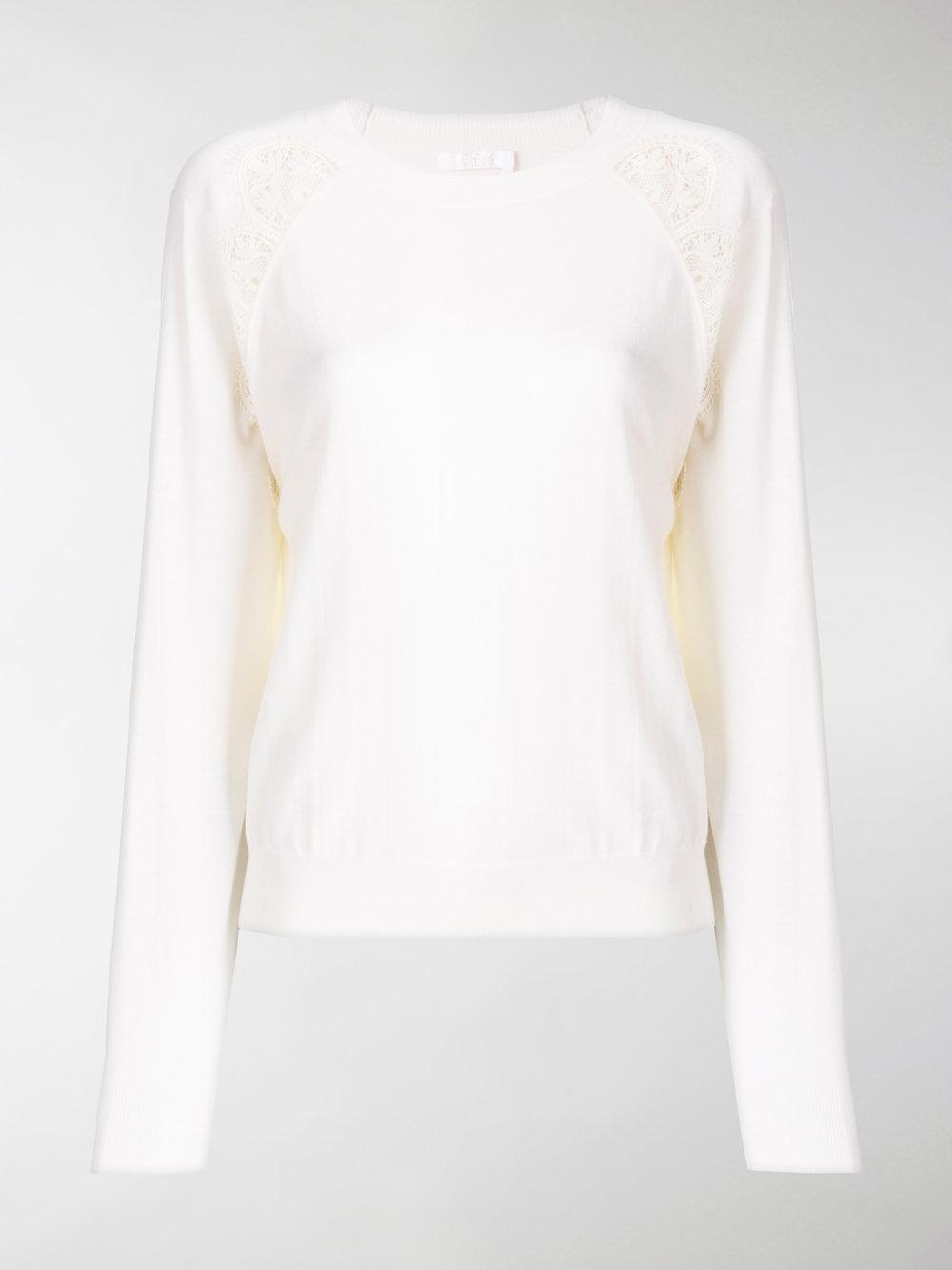 Super Specials lace-trimmed sweater - White Chloé The Cheapest aFD7Ey