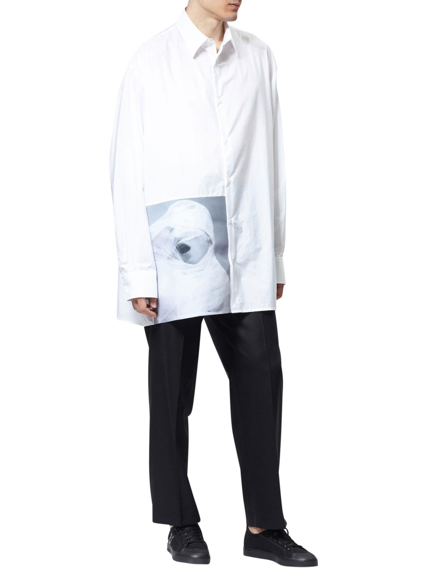 Raf simons robert mapplethorpe white gauze cotton shirt in for Raf simons robert mapplethorpe shirt