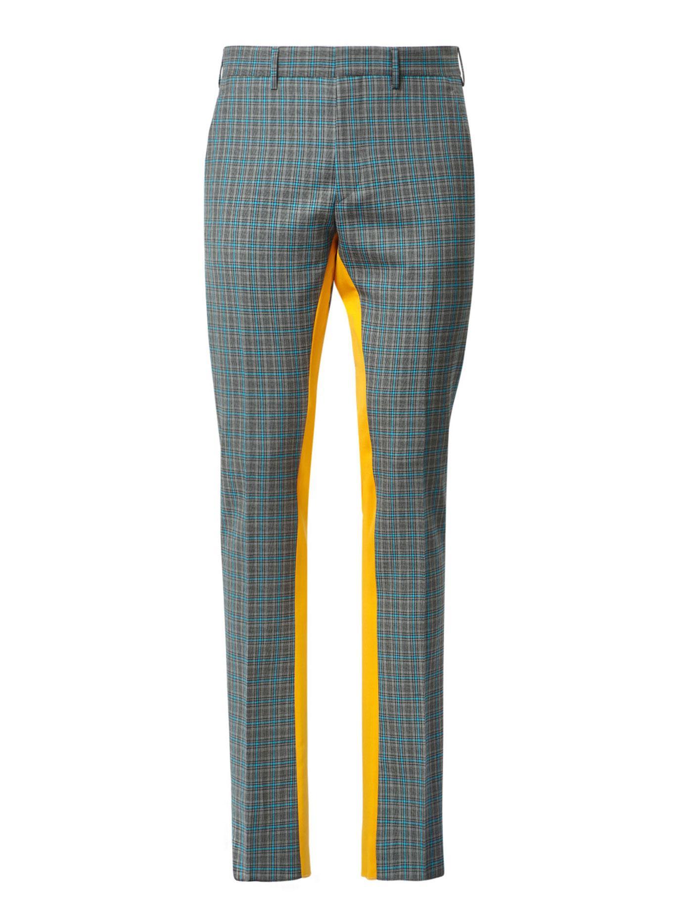 Prada Contrast Stripe Check Wool Pants In Blue For Men Lyst