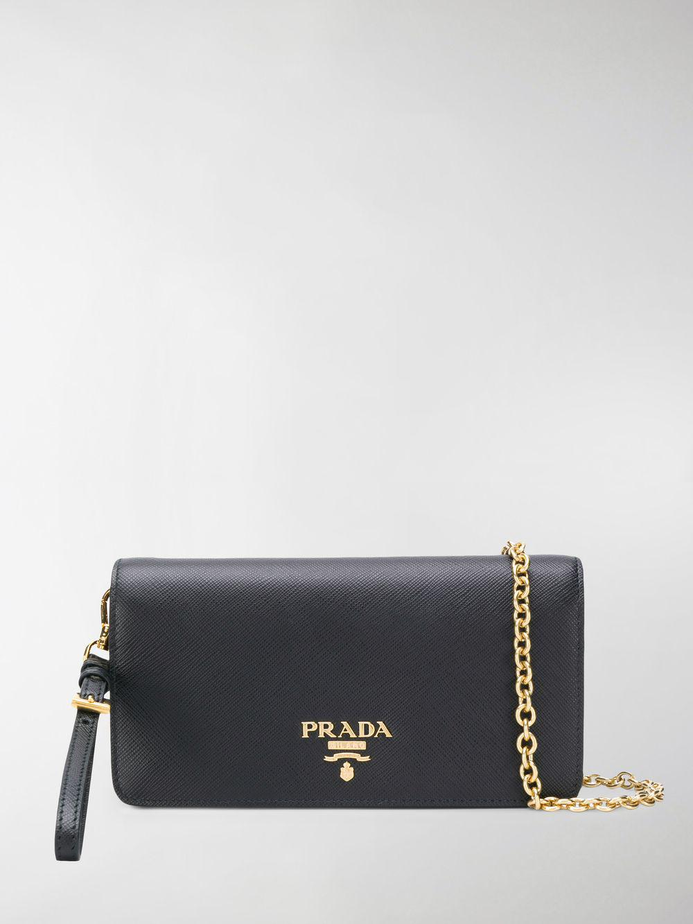 53157deb2c9d05 Lyst - Prada Black Logo Wallet Leather Chain Bag in Black