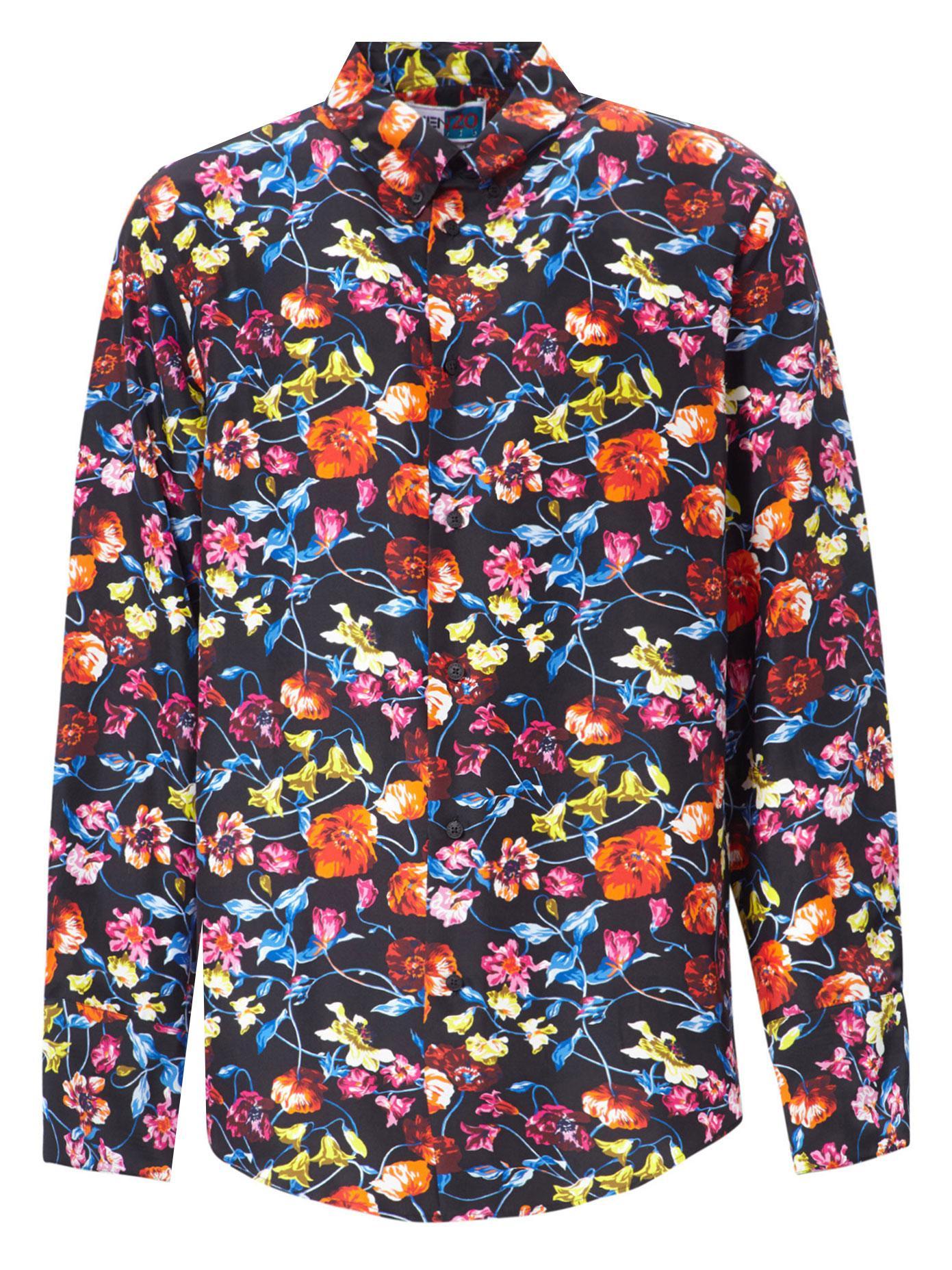 Lyst Kenzo Wild Flowers Silk Shirt In Blue For Men