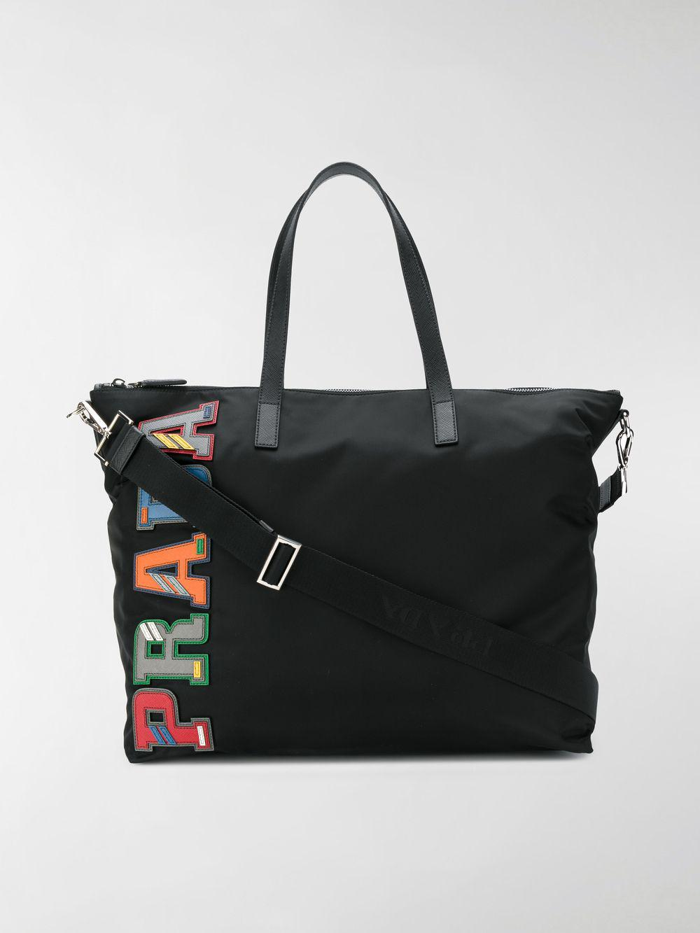 2f2b40adc144 Prada Logo Plaque Shoulder Bag in Black for Men - Lyst