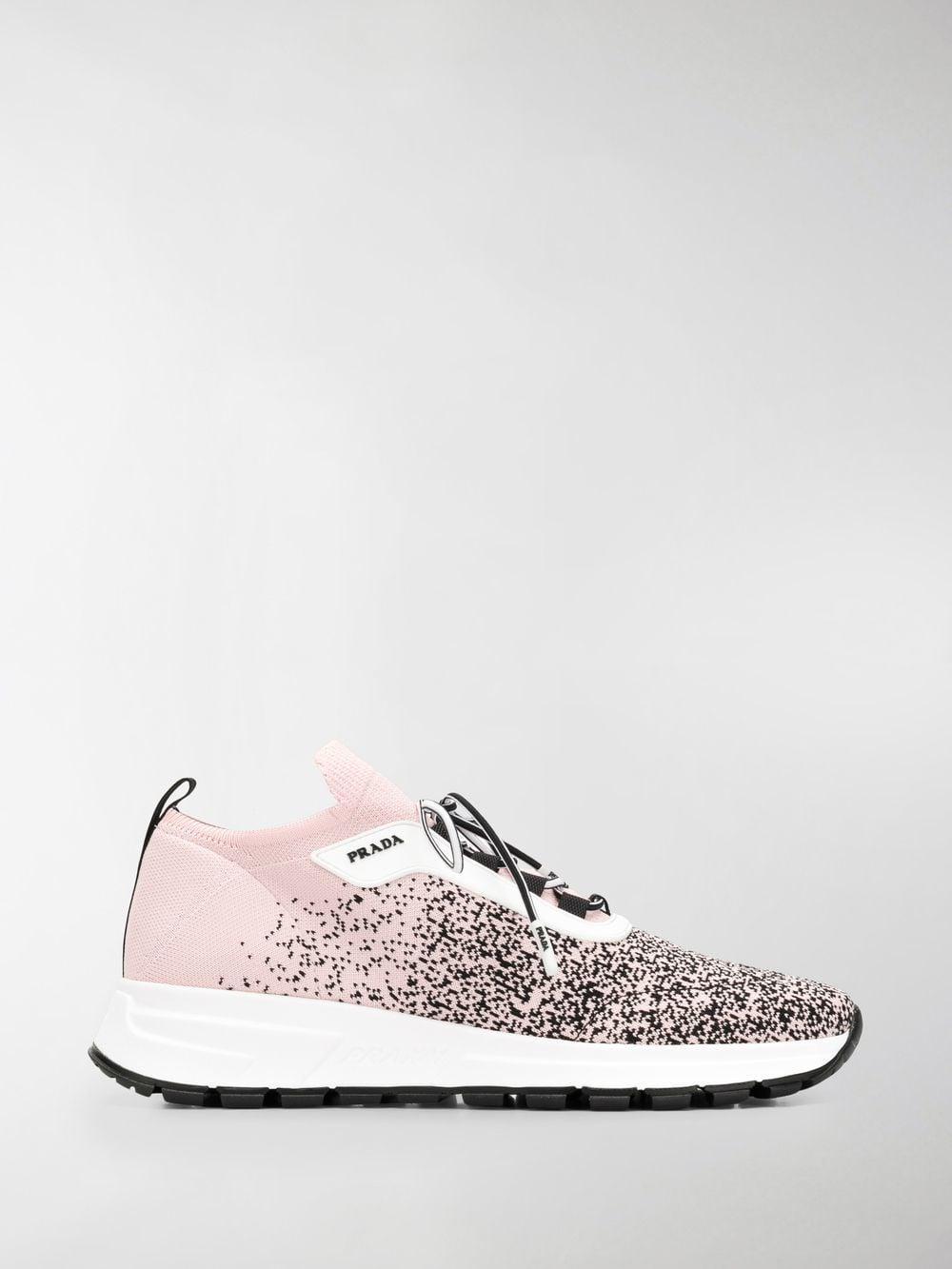 b0cbbe1a768 Prada - White Sock Lace-up Sneakers - Lyst. View fullscreen