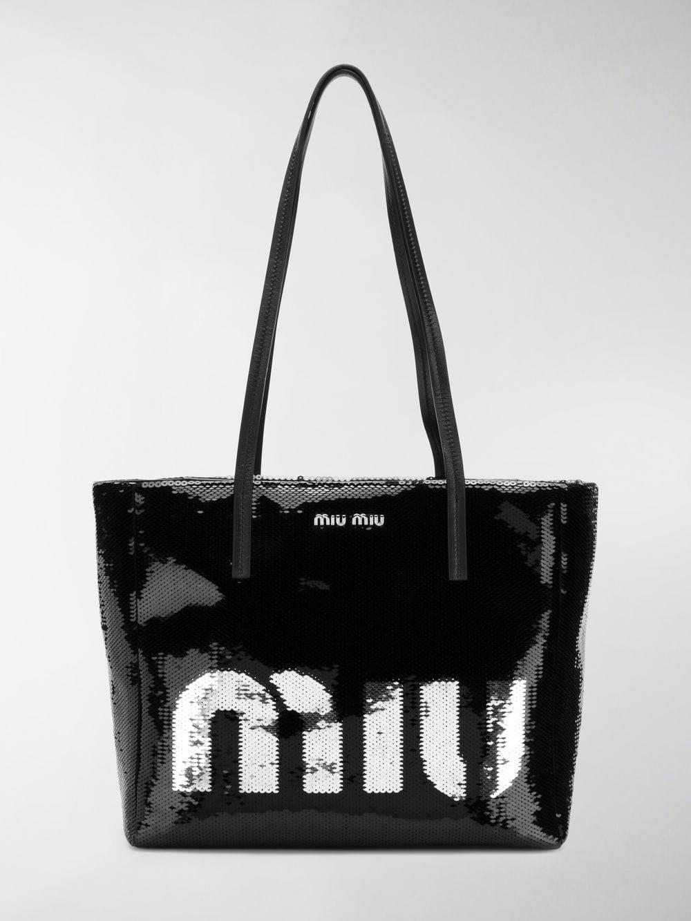 Miu Miu - Black Logo Sequin Tote Bag - Lyst. View fullscreen c7b8d9f6f8