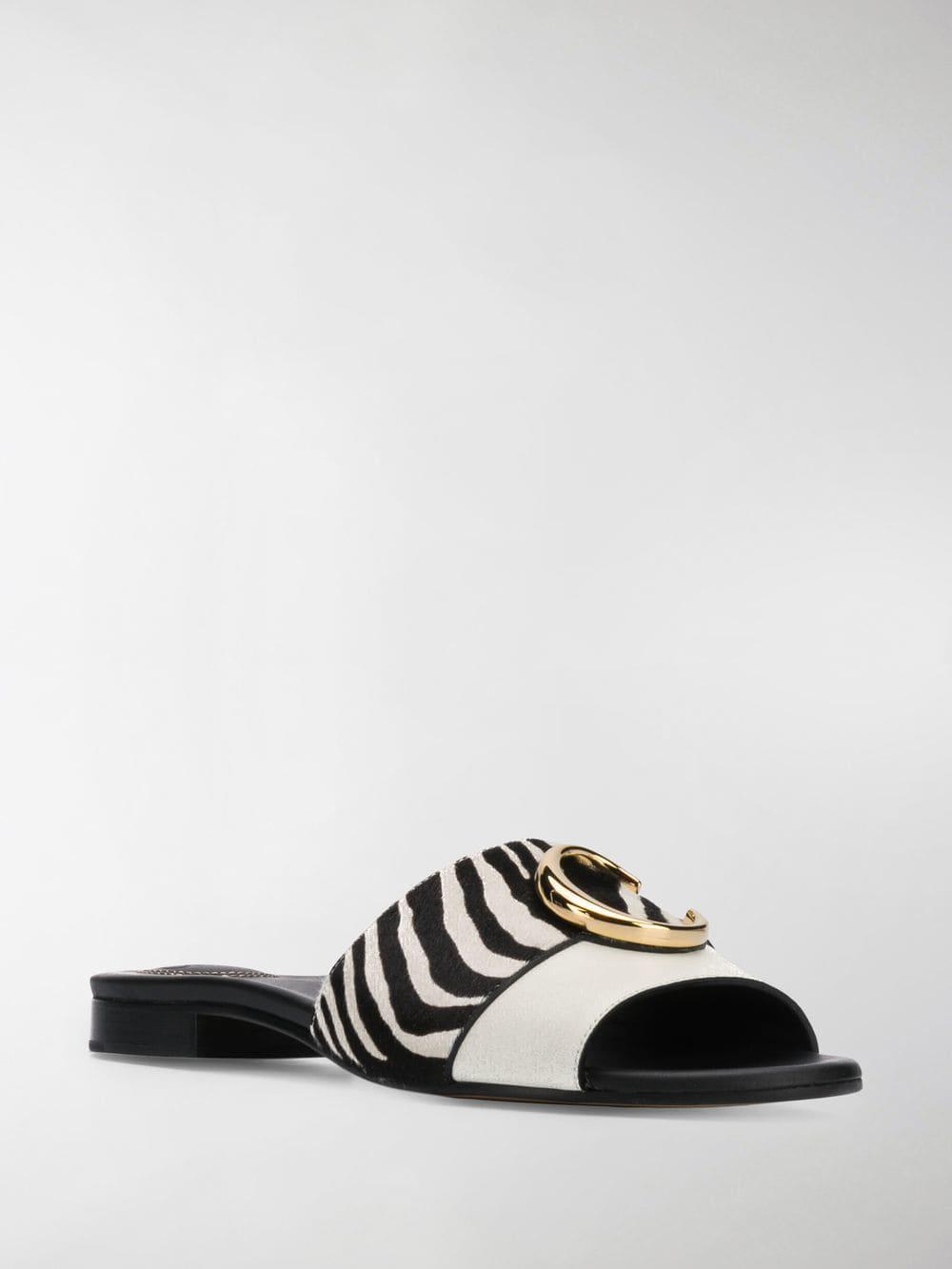 e61573418ffda Lyst - Chloé Zebra Stripe Mule Slides in White - Save 2%