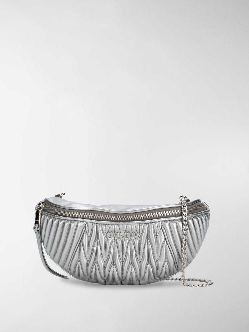 ad341bb6b0d Miu Miu Matelassé Belt Bag in Metallic - Lyst