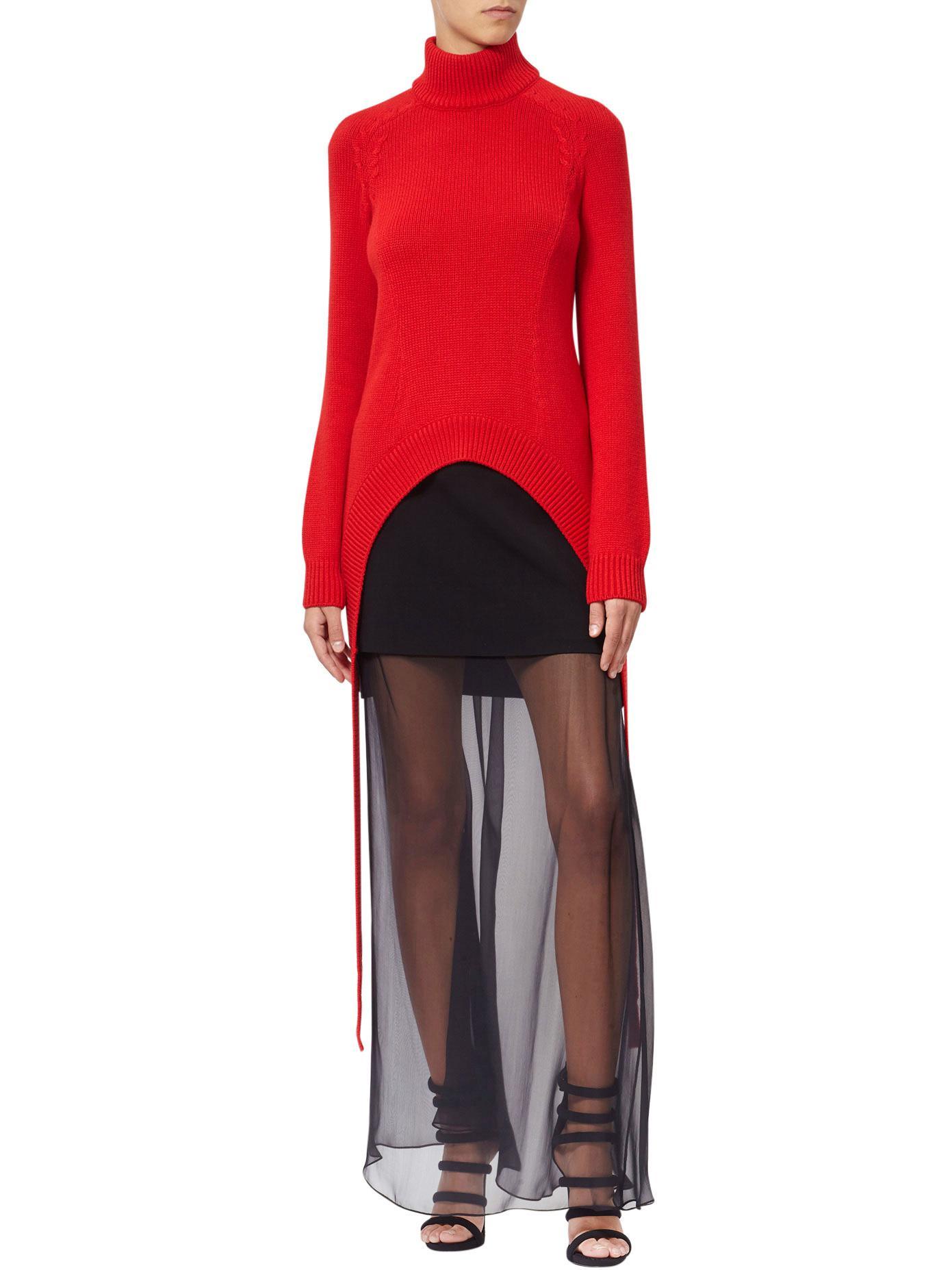 e74fb9d3545 Givenchy Sheer Bottom Silk Blend Skirt in Black - Lyst