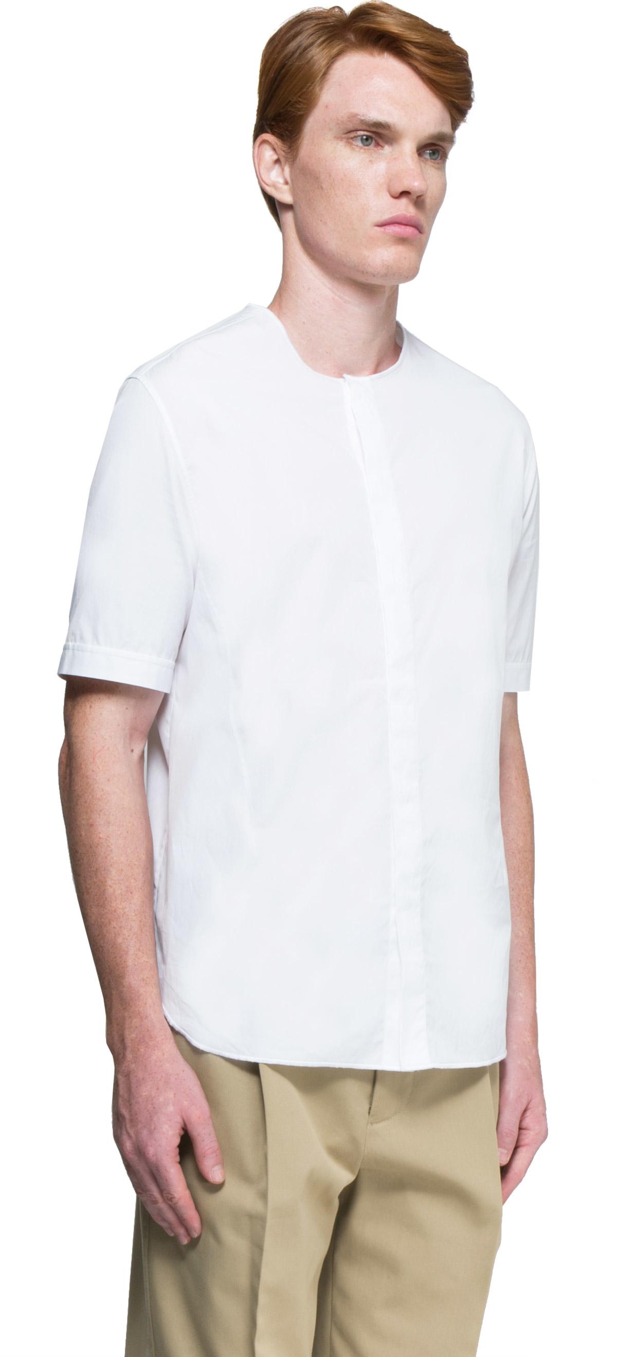 3 1 phillip lim collarless shirt in white for men lyst for Collarless shirts for men