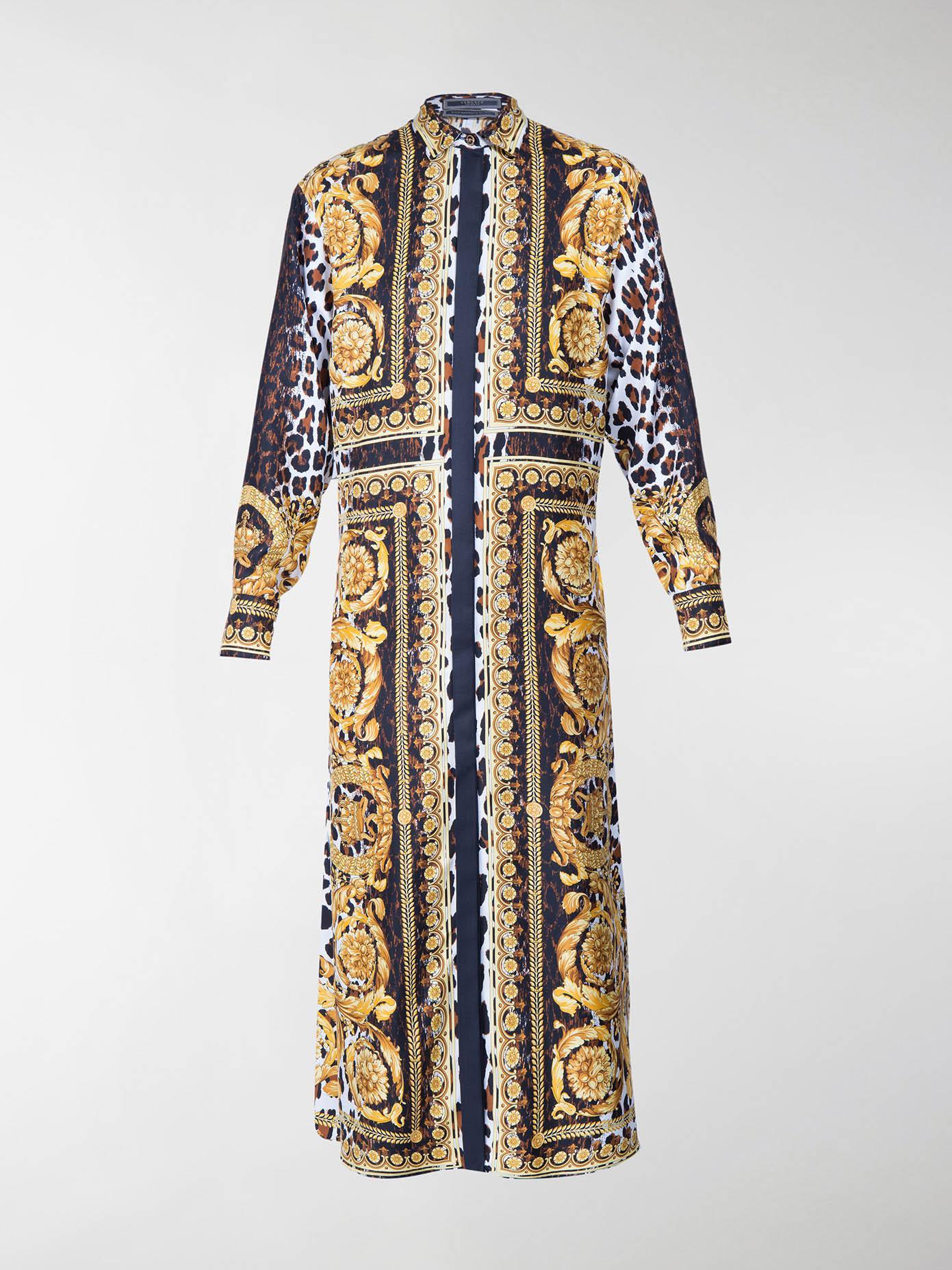 51370cb7 Versace Wild Baroque Long Silk Shirt - Lyst