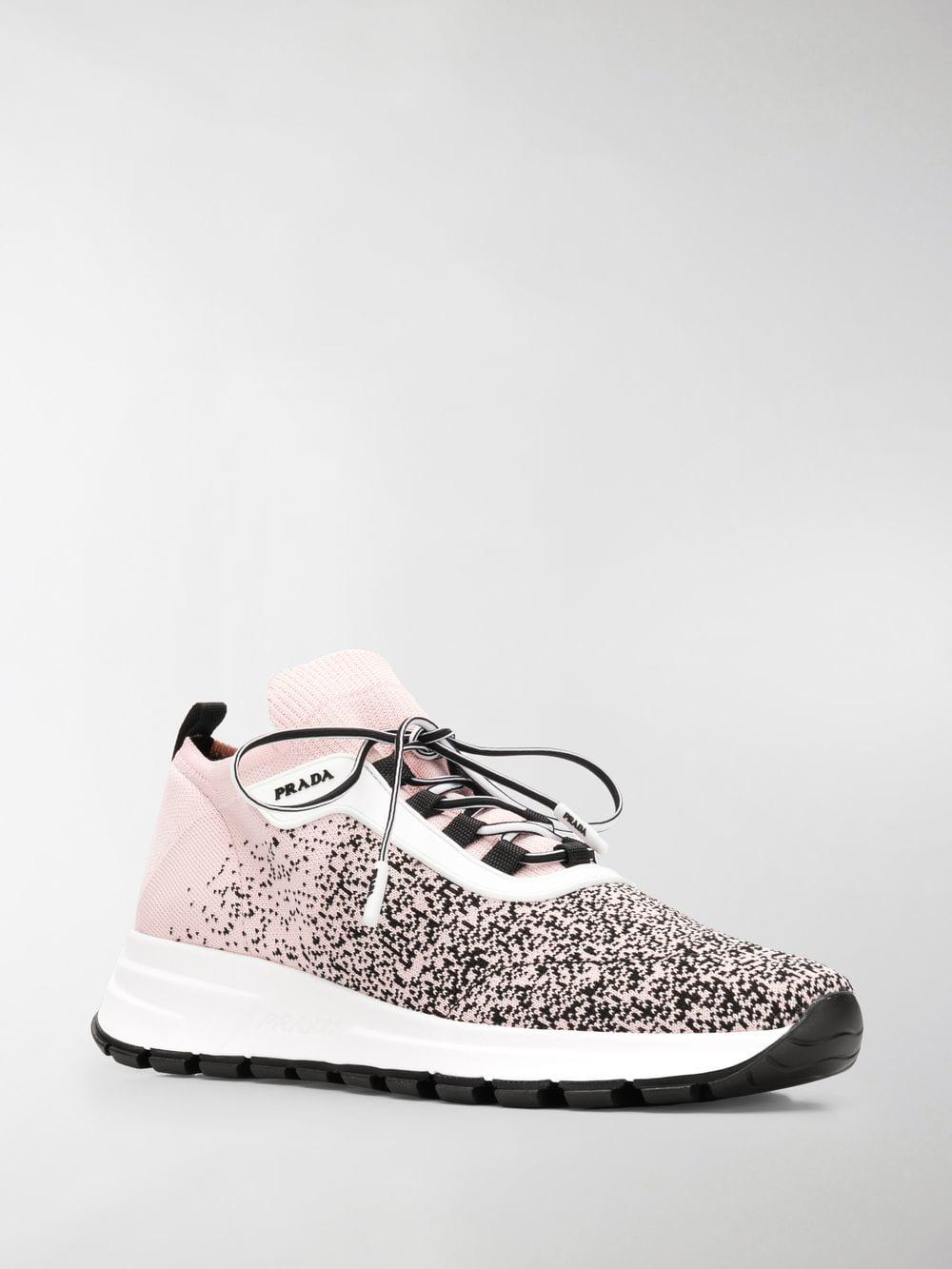 522f22e5f66 Prada Sock Lace-up Sneakers in White - Lyst