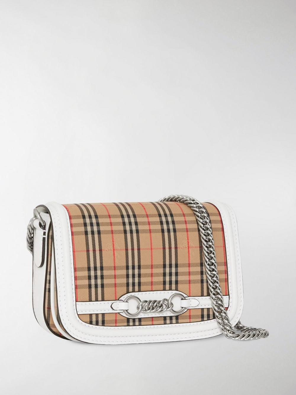 78a7f74f05be Lyst - Burberry The 1983 Check Link Bag in White
