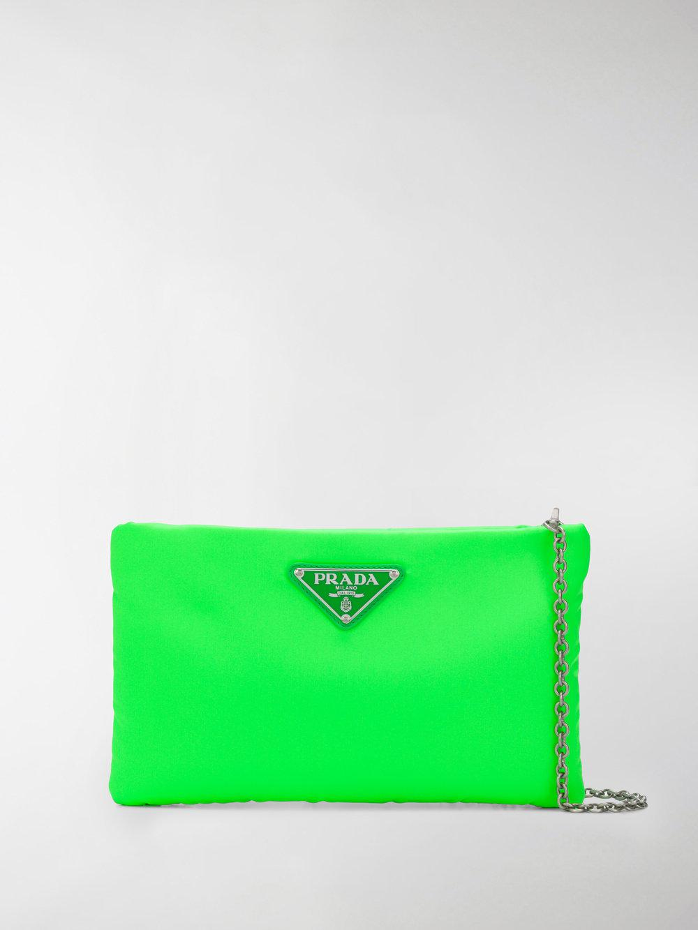 3258f77d1ad9b8 Prada Padded Nylon Clutch Bag in Green - Lyst