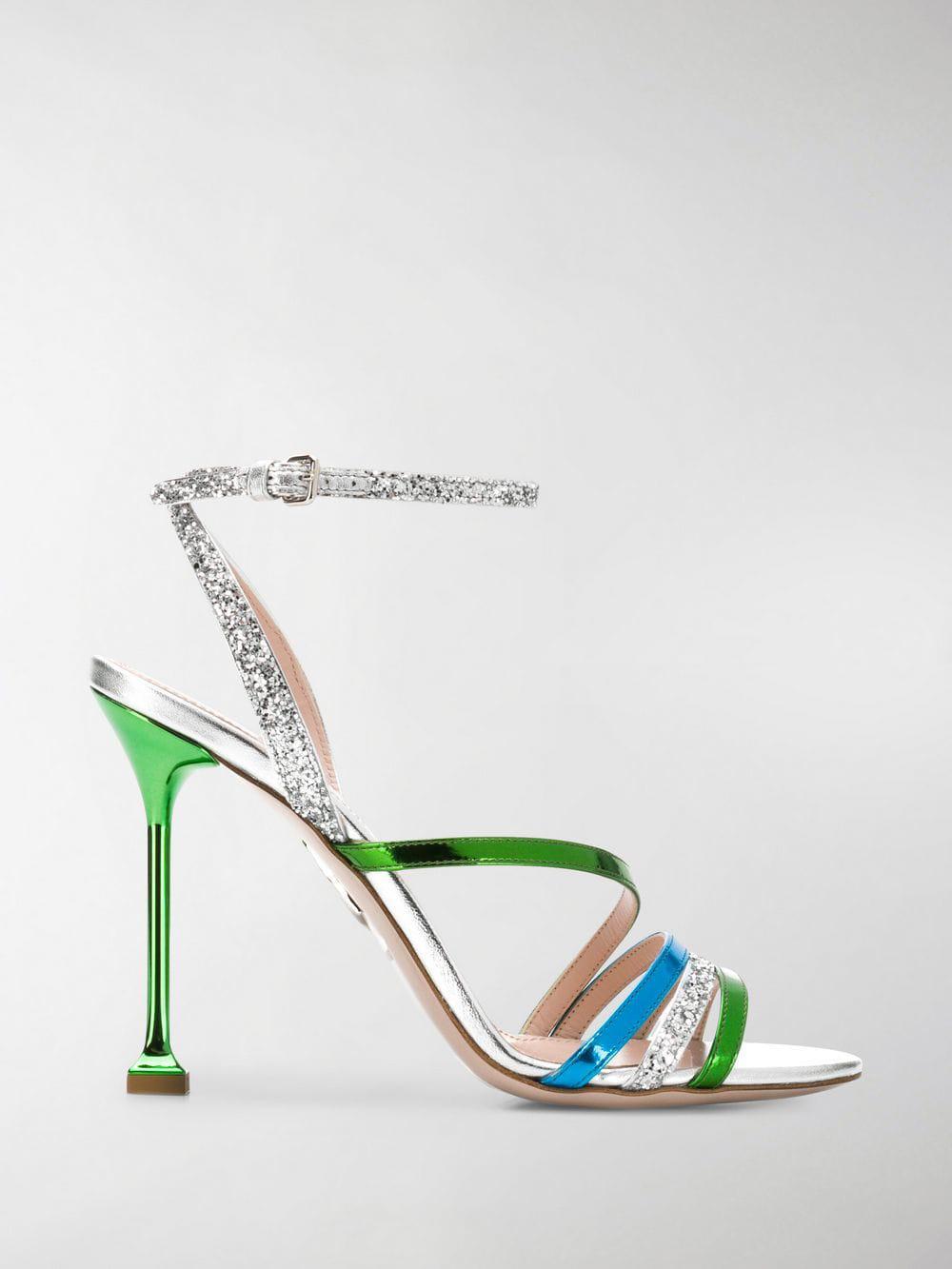 a22abbfc9ba8 Miu Miu. Women s Green Glitter Mirror Sandals