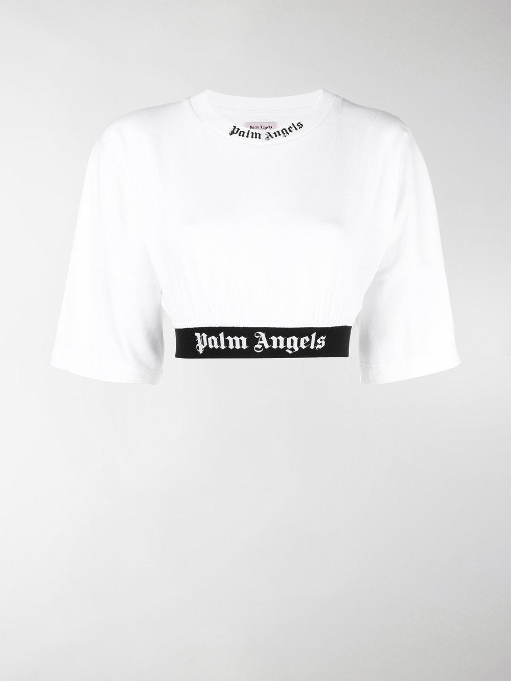Mid Sleeve Crop In Angels Lyst Palm Top White hxrsCtQdB