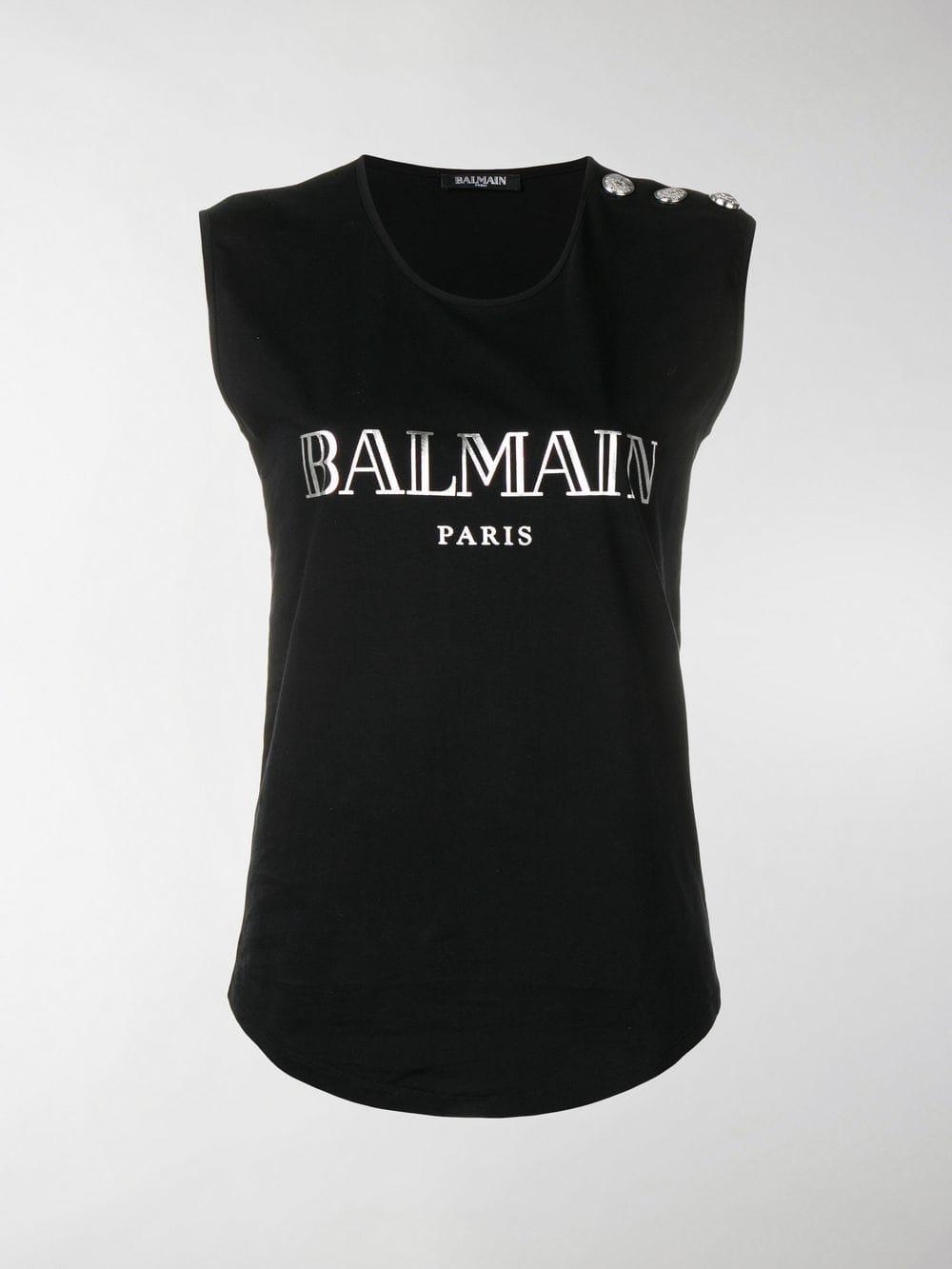 39d0f26ec1d00a Balmain - Black Logo Print Tank Top - Lyst. View fullscreen